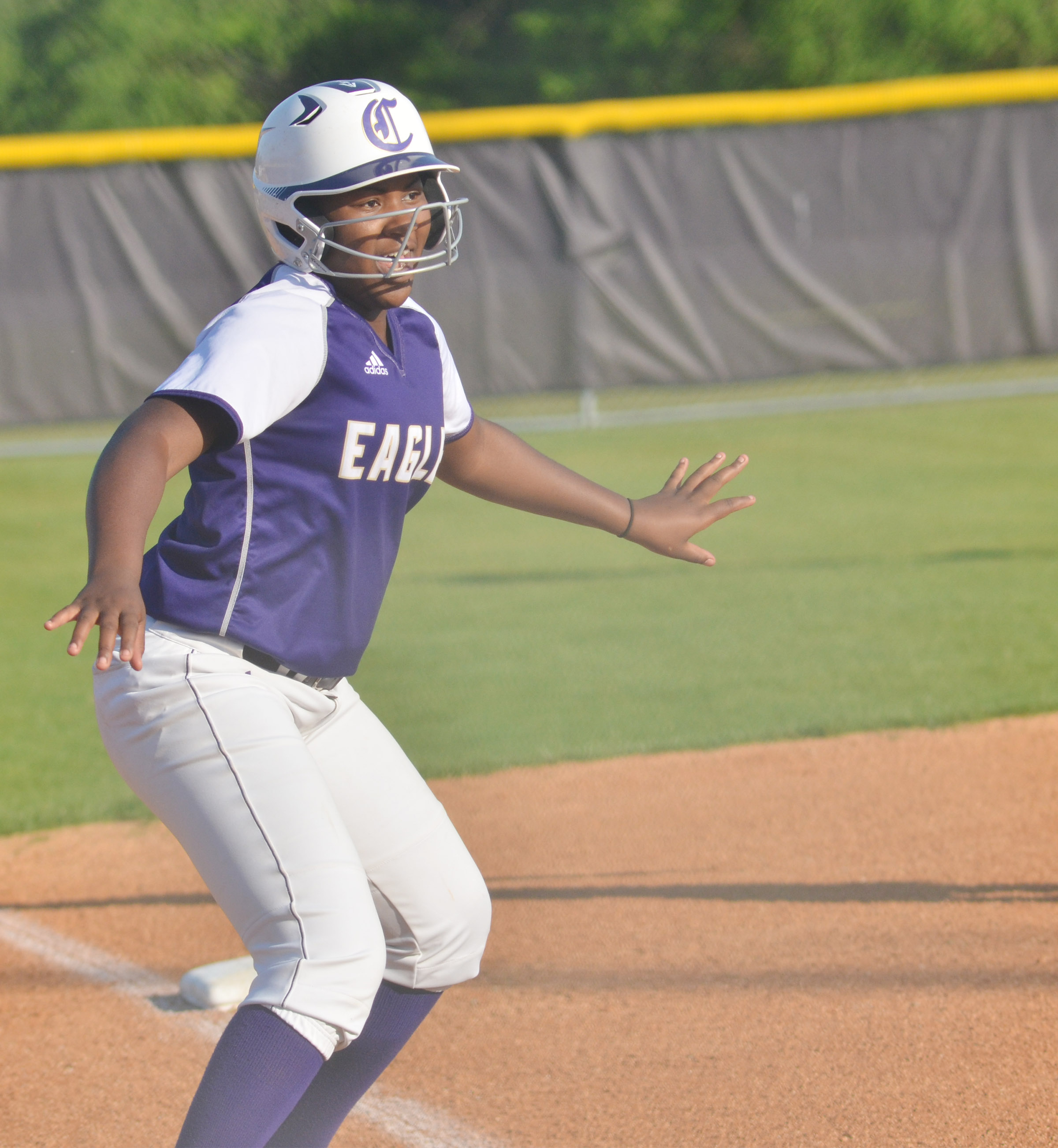 CHS freshman Nena Barnett looks to run home.