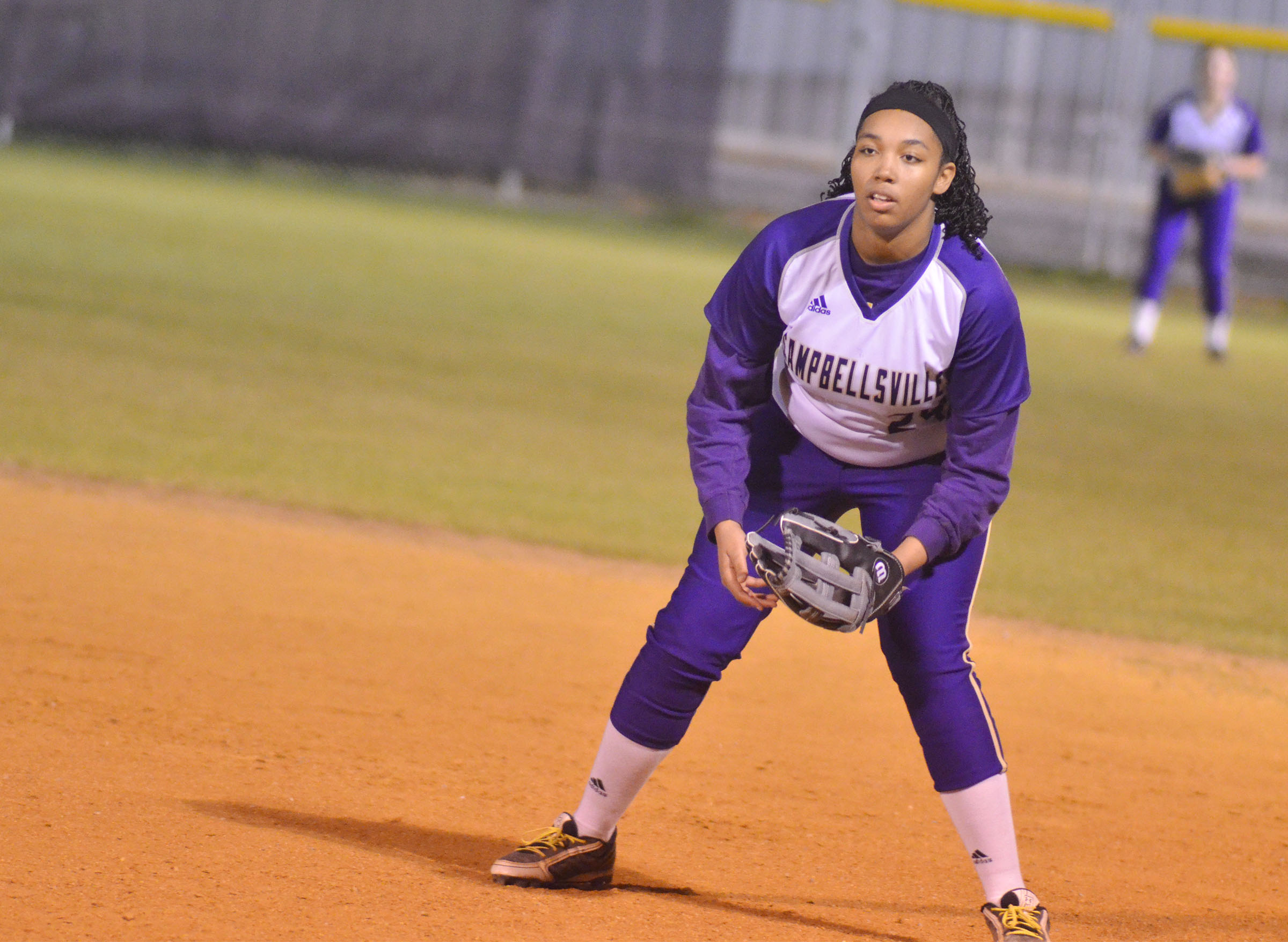 CHS sophomore Malaya Hoskins mans first base.