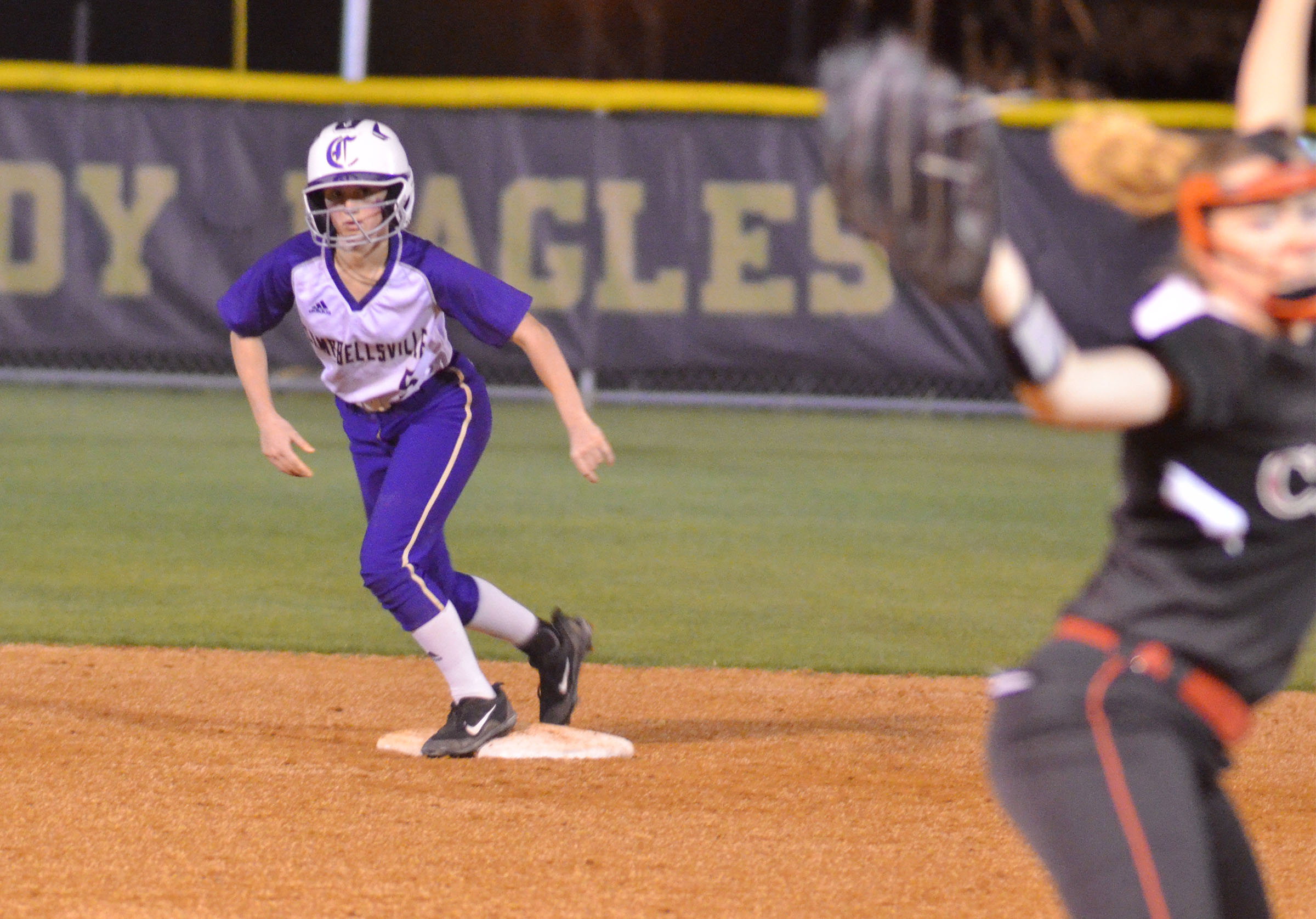 CHS freshman Bailey Thompson looks toward third.