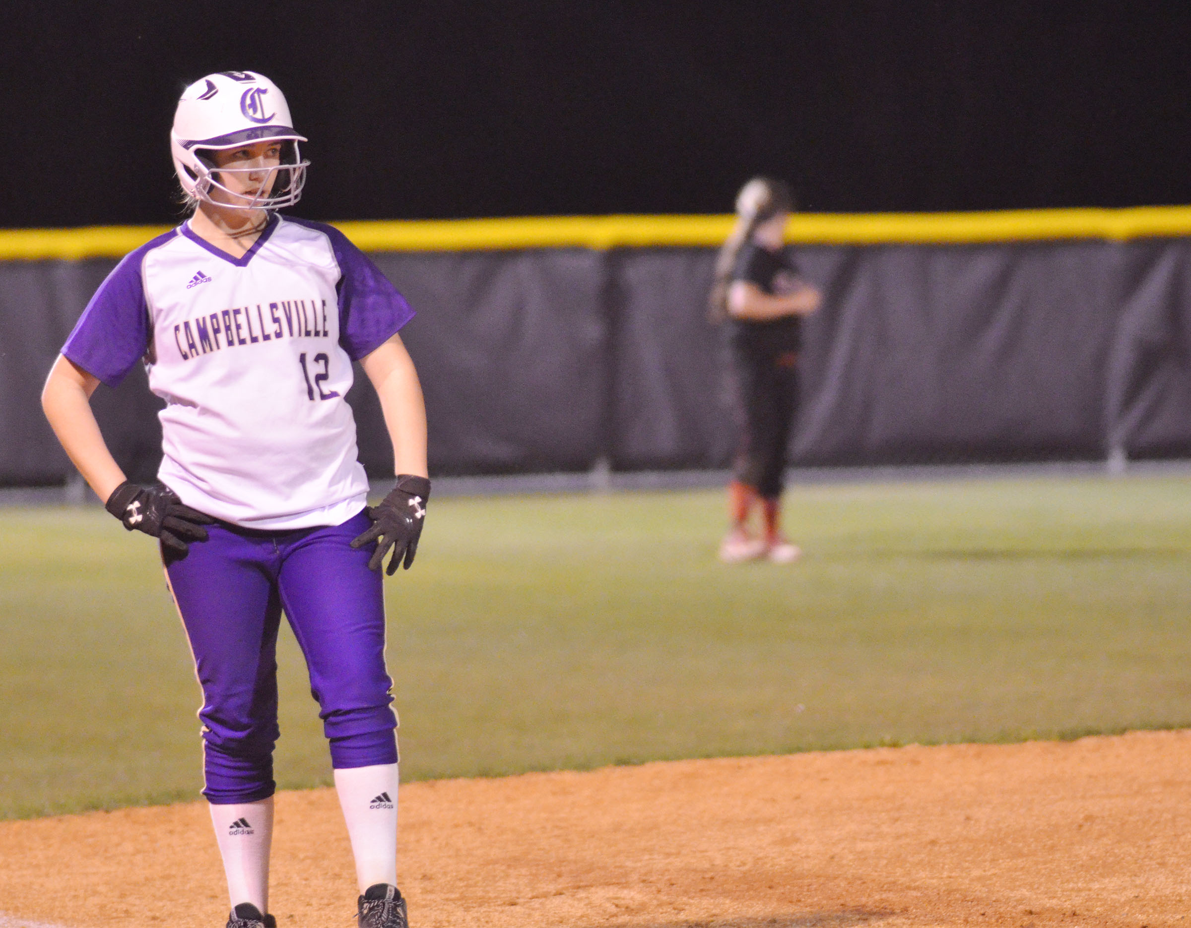 Campbellsville Middle School eighth-grader Abi Wiedewitsch waits on third.