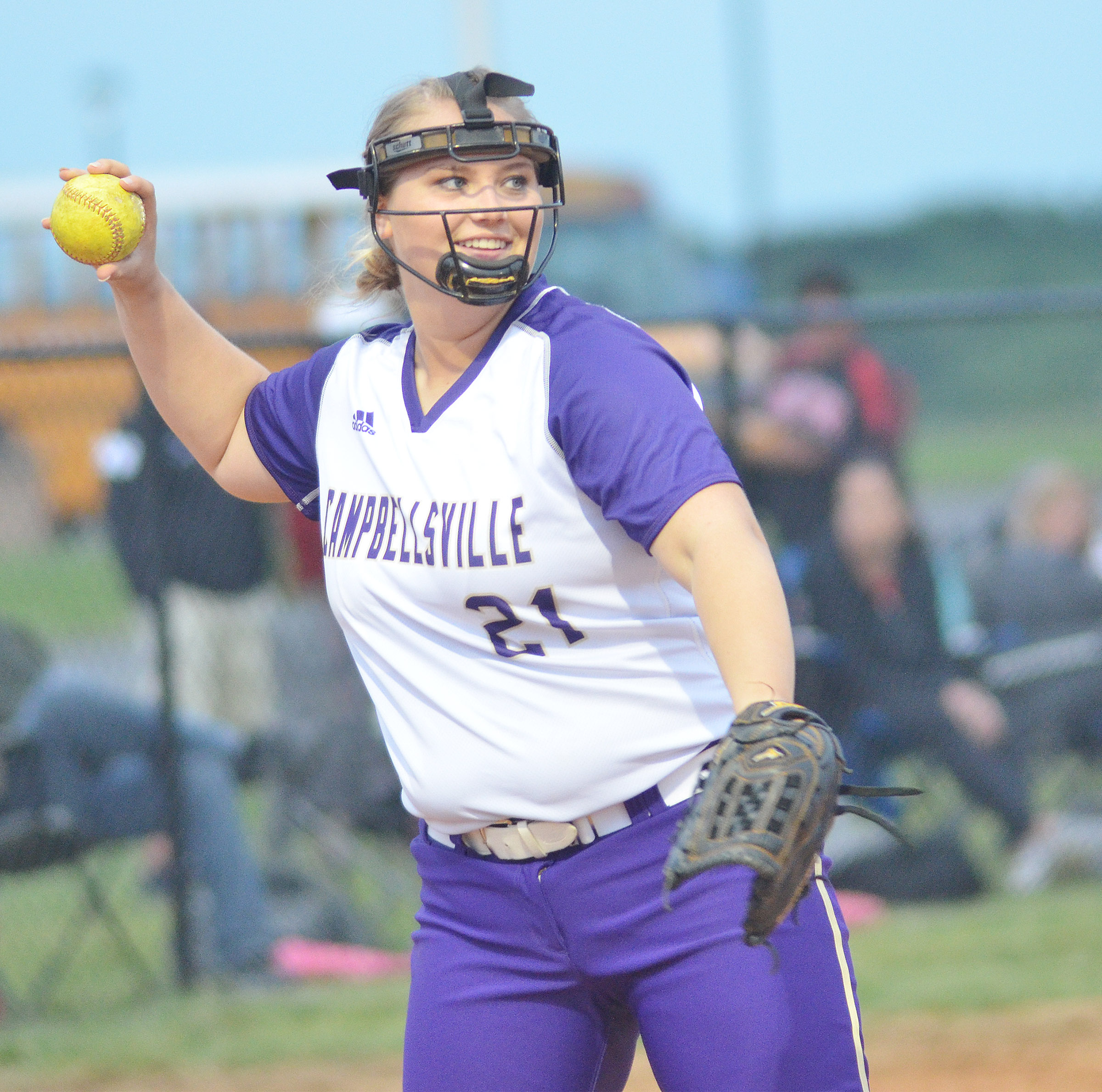 CHS senior Brenna Wethington throws to first.
