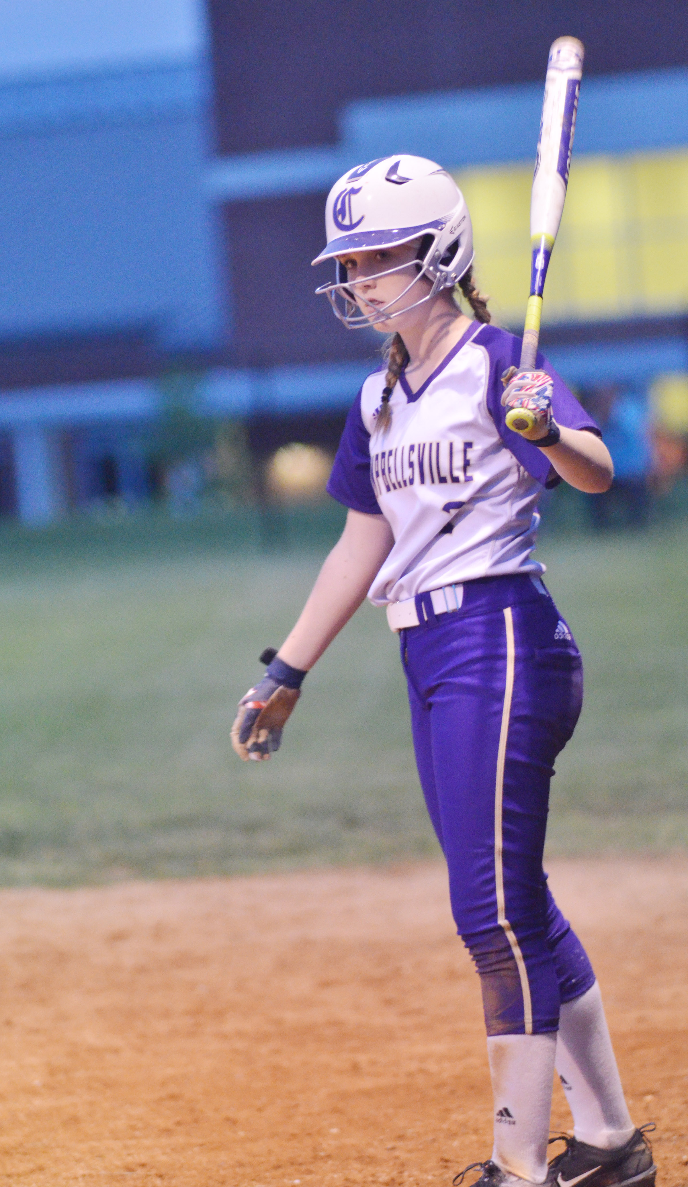 Campbellsville Middle School eighth-grader Catlyn Clausen gets set to bat.