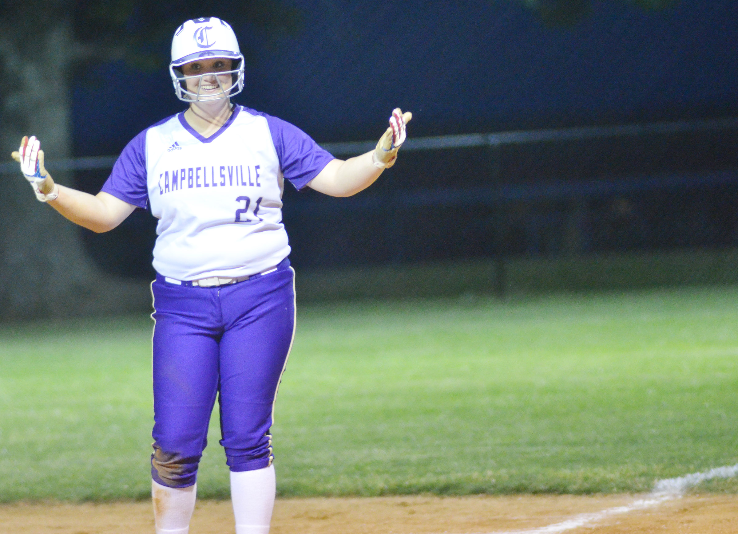 CHS senior Brenna Wethington calls for some cheering after she gets a hit.