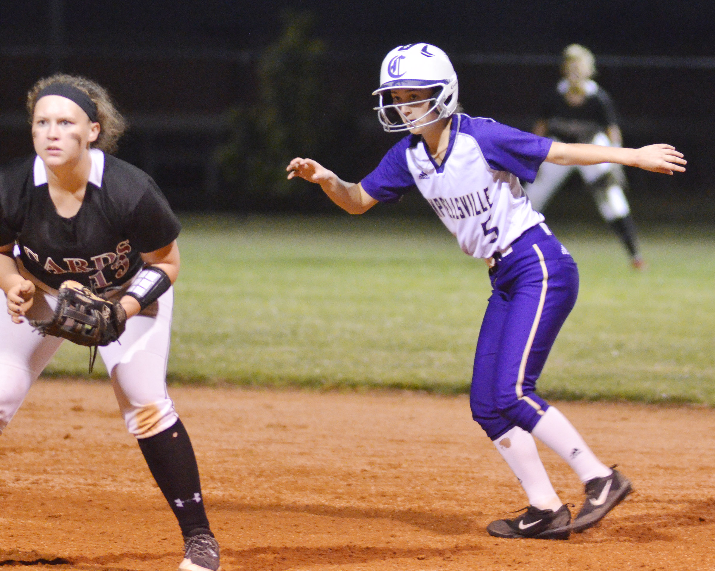 CHS freshman Bailey Thompson looks to steal second.