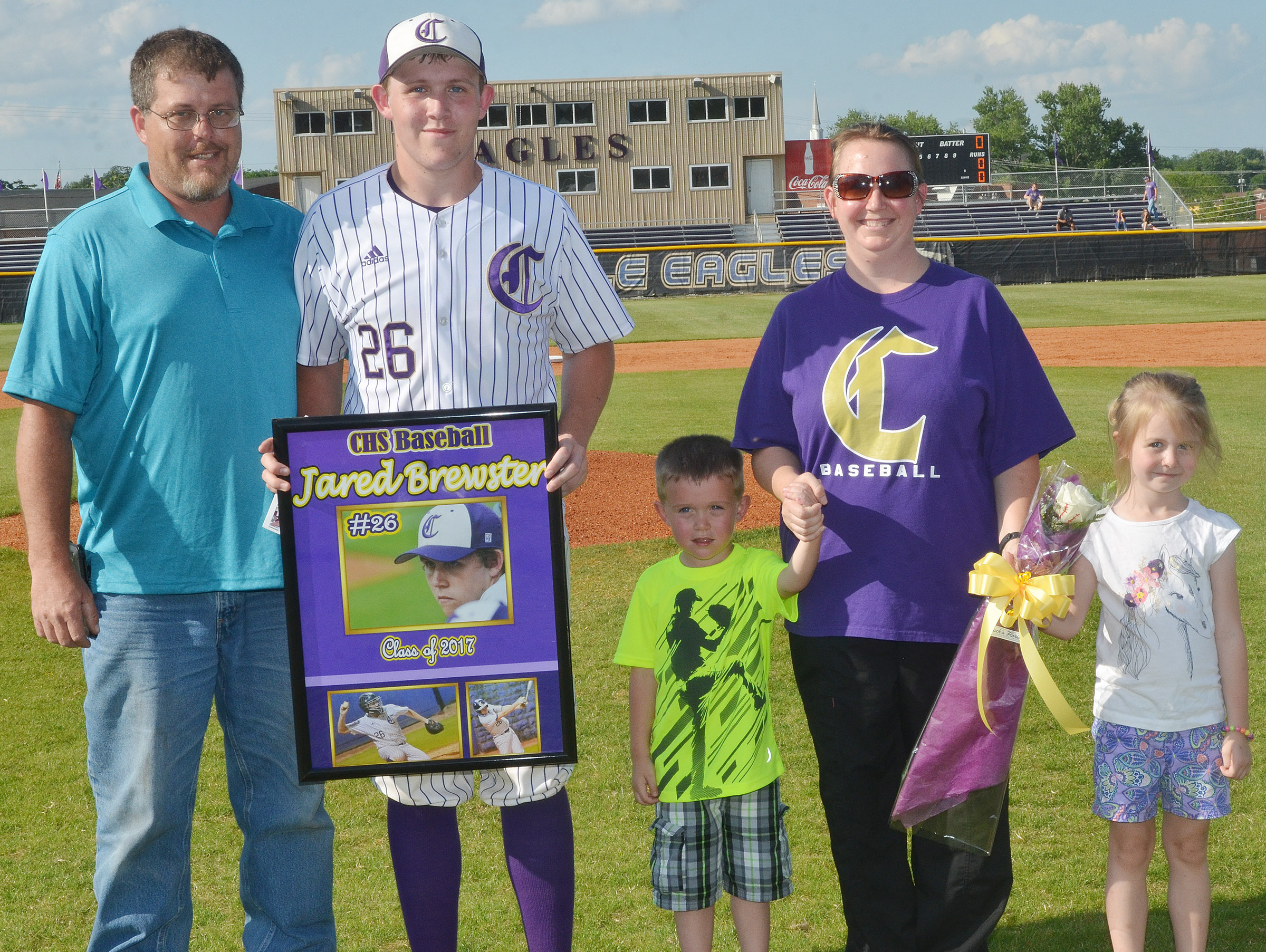 CHS senior Jared Brewster is honored for his dedication to the CHS baseball team. From left are his father, David Brewster, Brewster, his brother Jaden, his mother Suzanne Davis and his sister Jewell.