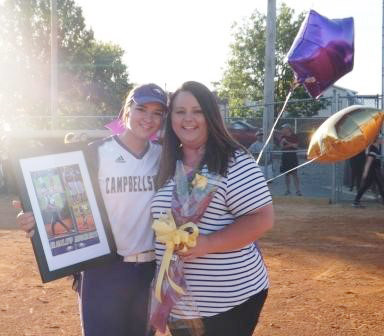 CHS senior Kailey Morris is honored for her dedication to the CHS softball team. She is pictured with her mother Leslie.