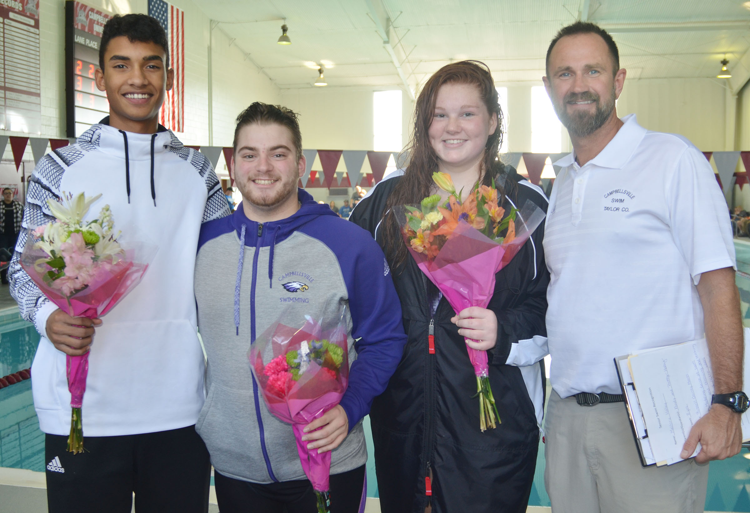CHS seniors, from left, Daniel Silva, Jon Tanner Coppage and Mallory Haley are honored. They are pictured with their coach, Steve Doss.