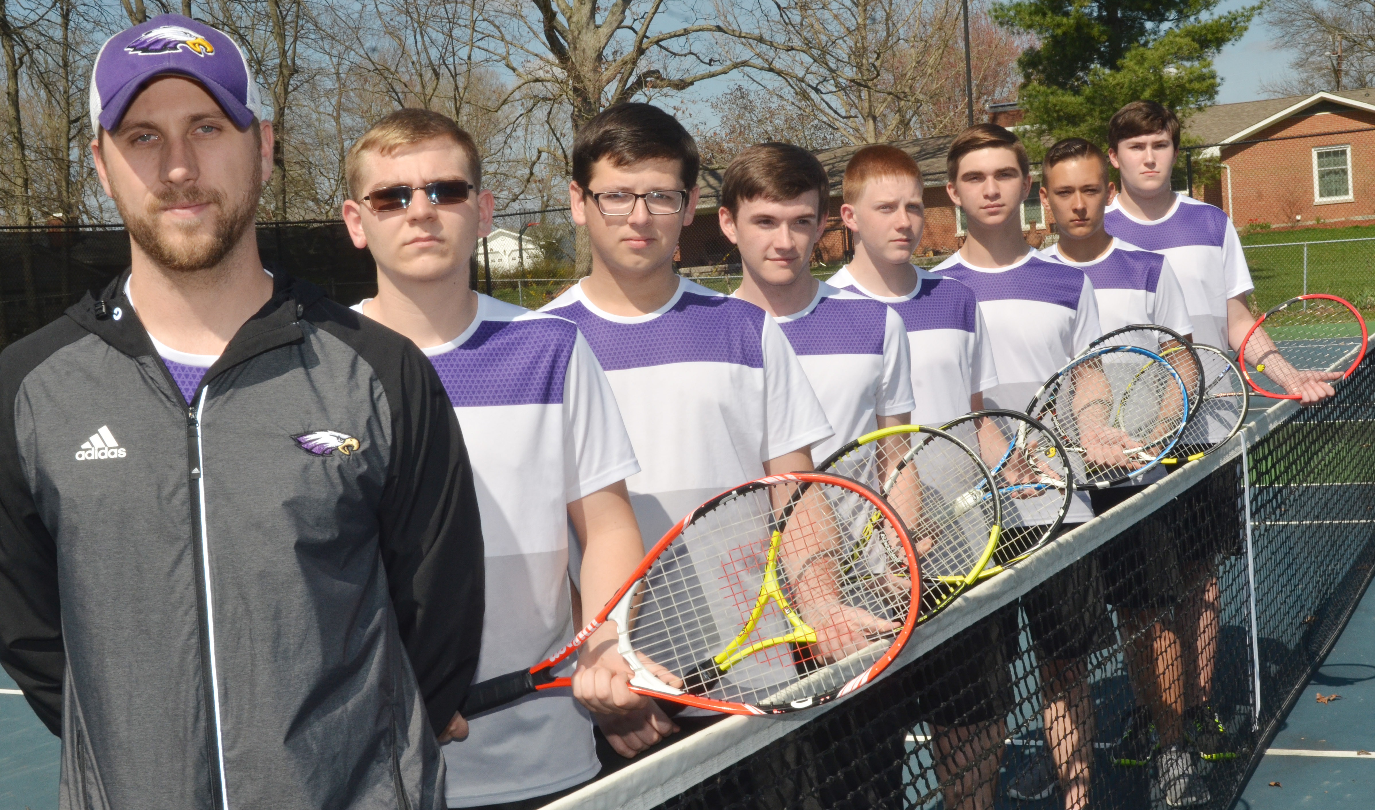 This year's CHS boys' tennis team is, from left, coach Tyler Hardy, sophomore Brandon Greer, Campbellsville Middle School eighth-grader Devan Keith, junior Jackson Hunt, freshman Patrick Walker, juniors Cass Kidwell and Cody Davis and senior Zack Settle.