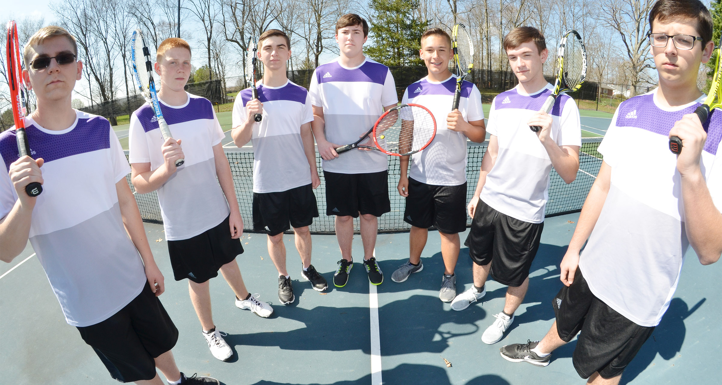 This year's CHS boys' tennis team is, from left, sophomore Brandon Greer, freshman Patrick Walker, junior Cass Kidwell, senior Zack Settle, juniors Cody Davis and Jackson Hunt and Campbellsville Middle School eighth-grader Devan Keith.