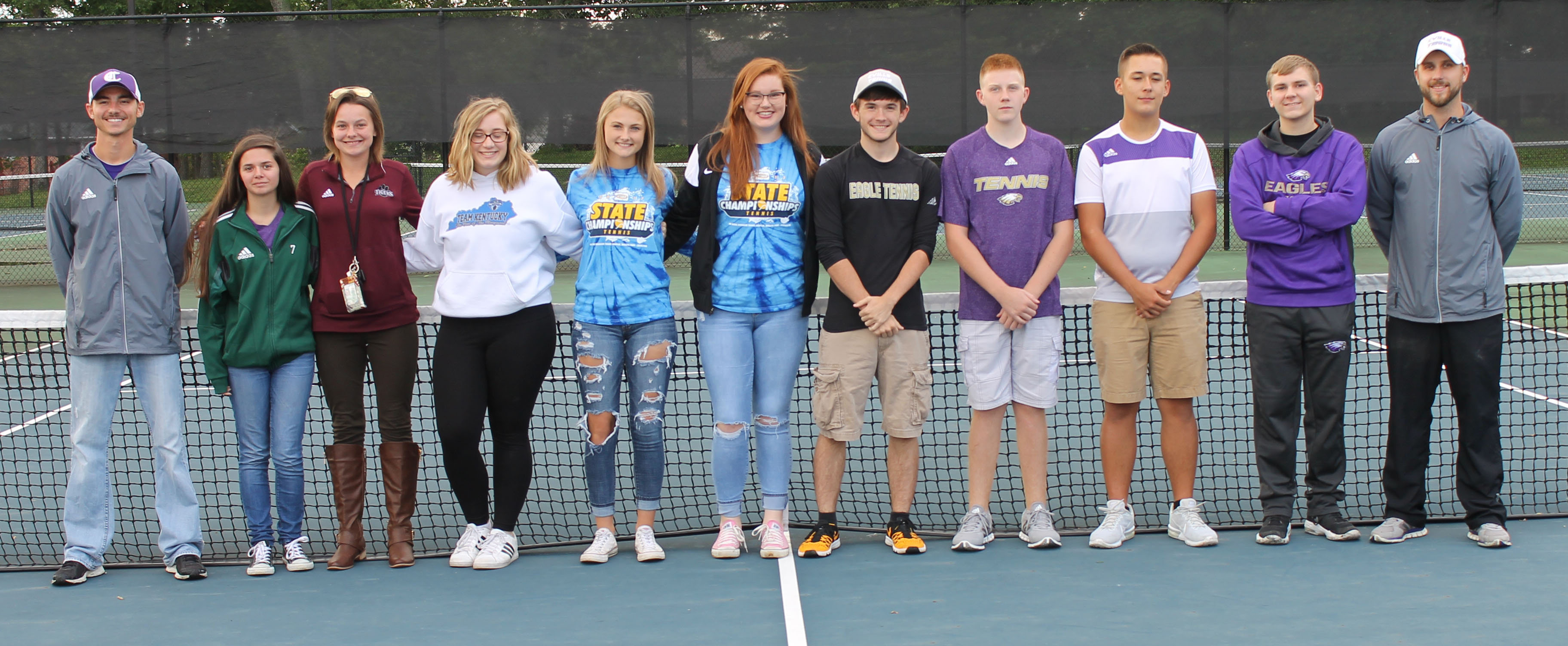 Campbellsville High School tennis players were recently honored at a banquet. This year's players were honored for their dedication to their team and their hard work this season. From left are girls' coach Bradley Harris, seniors Shauna Jones and Kyrsten Hill, freshmen Samantha Johnson and Victoria Cox, senior Mallory Haley, junior Jackson Hunt, freshman Patrick Walker, junior Cody Davis, sophomore Brandon Greer and boys' coach Tyler Hardy. Absent from the photo are junior Sara Farmer, Campbellsville Middle School eighth-grader Devan Keith, junior Cass Kidwell and senior Zack Settle.