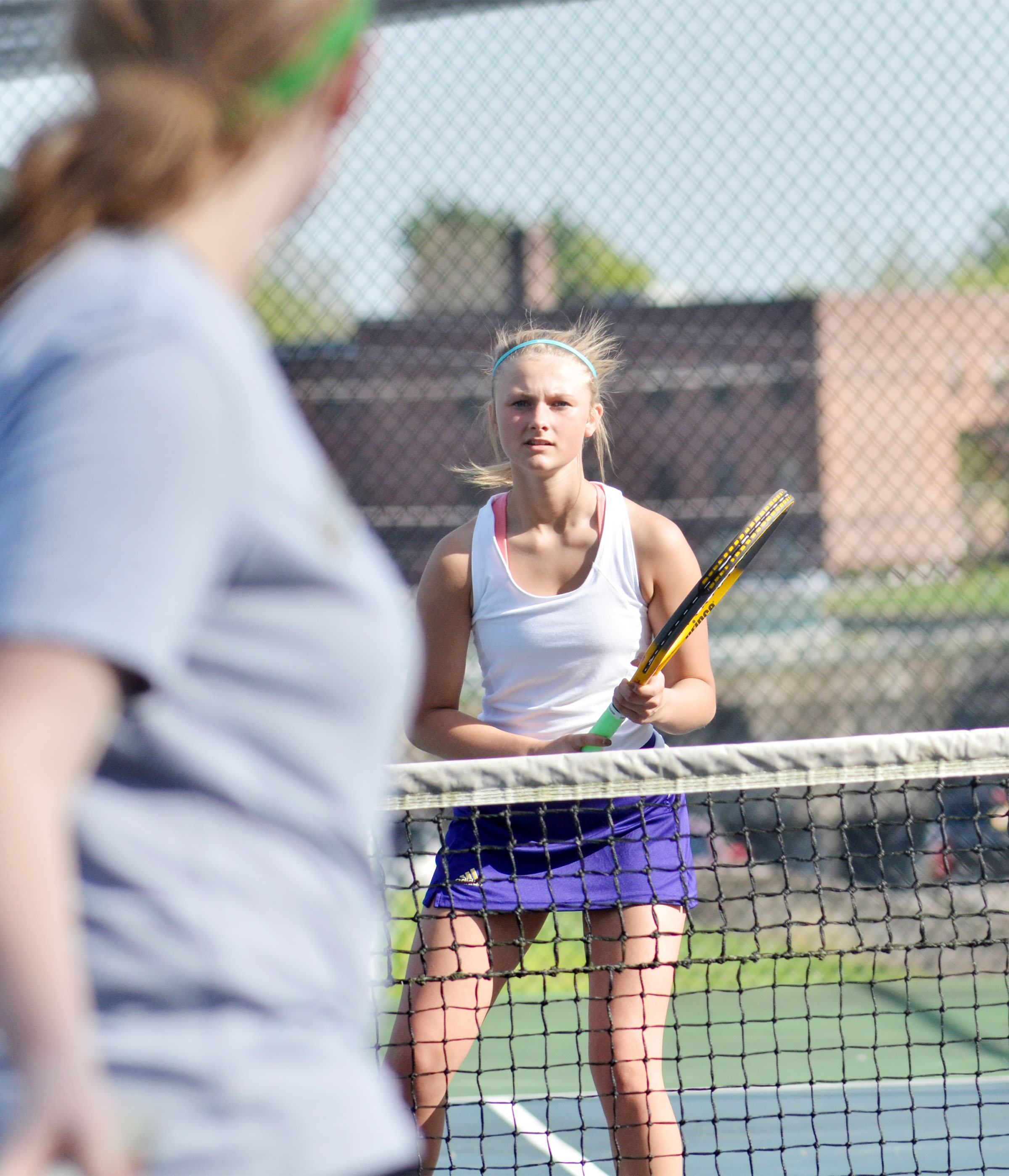 CHS freshman Victoria Cox watches the ball.