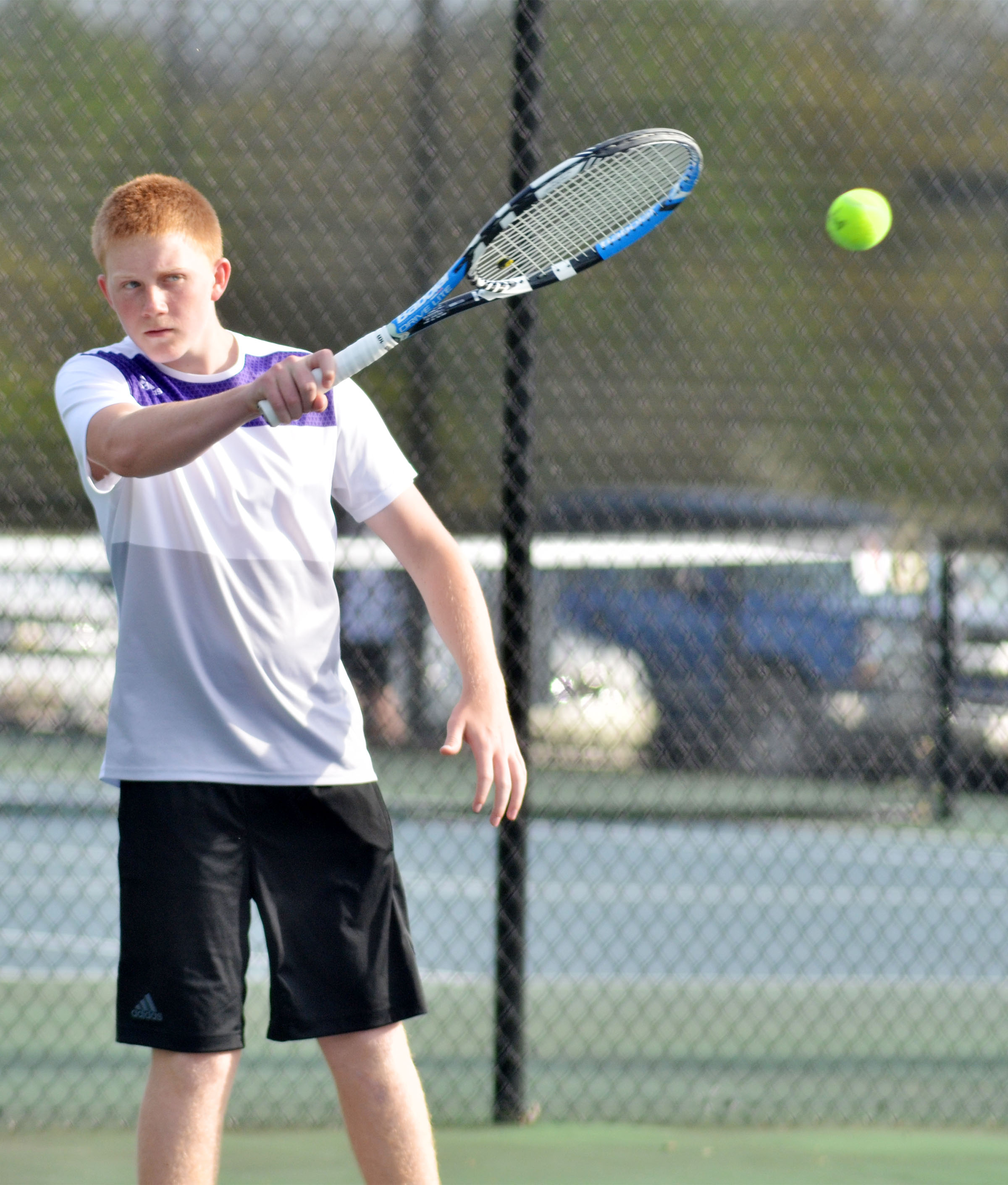 CHS freshman Patrick Walker hits the ball.