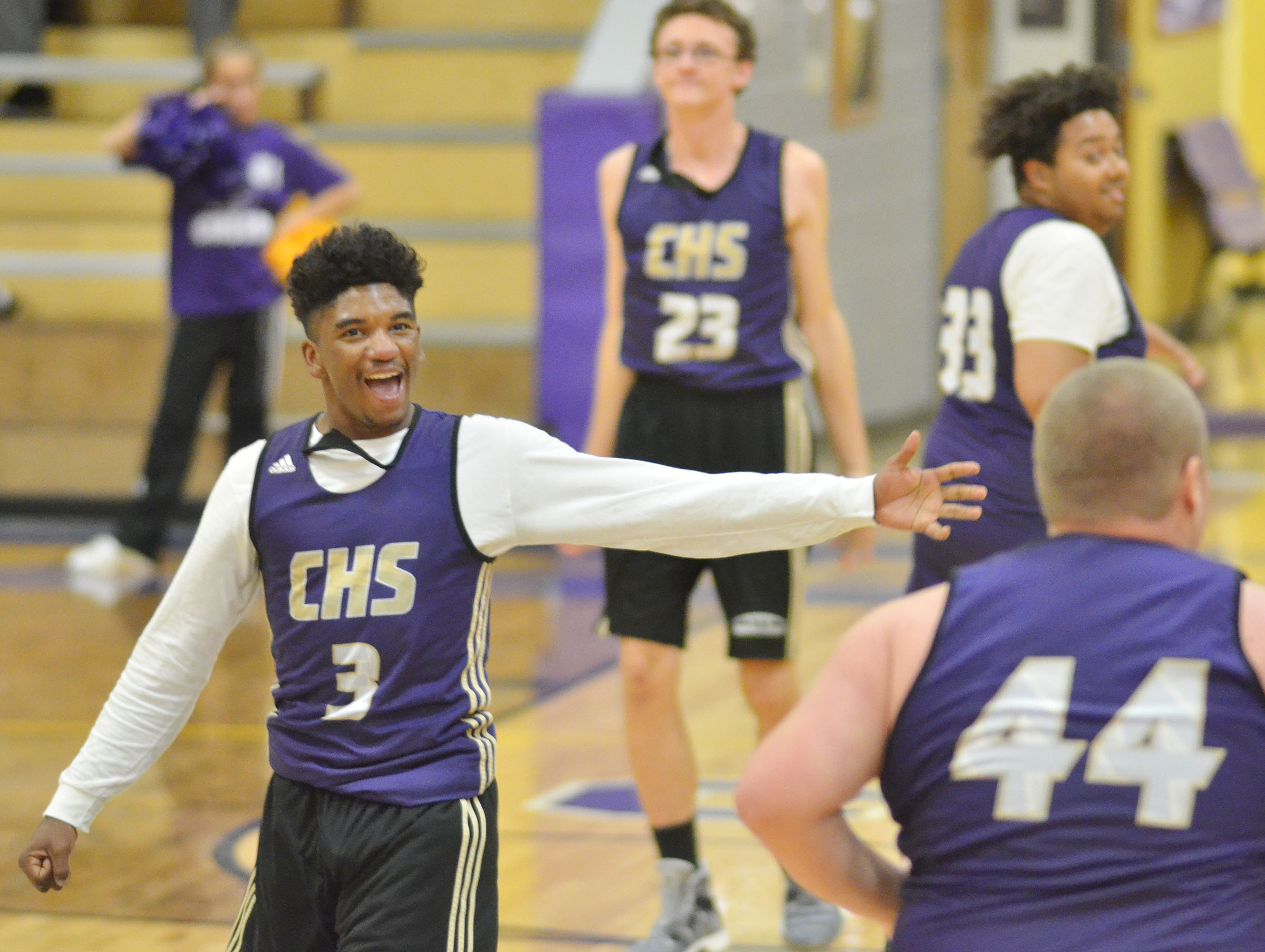 CHS junior Tyrion Taylor cheers in his team scrimmage.