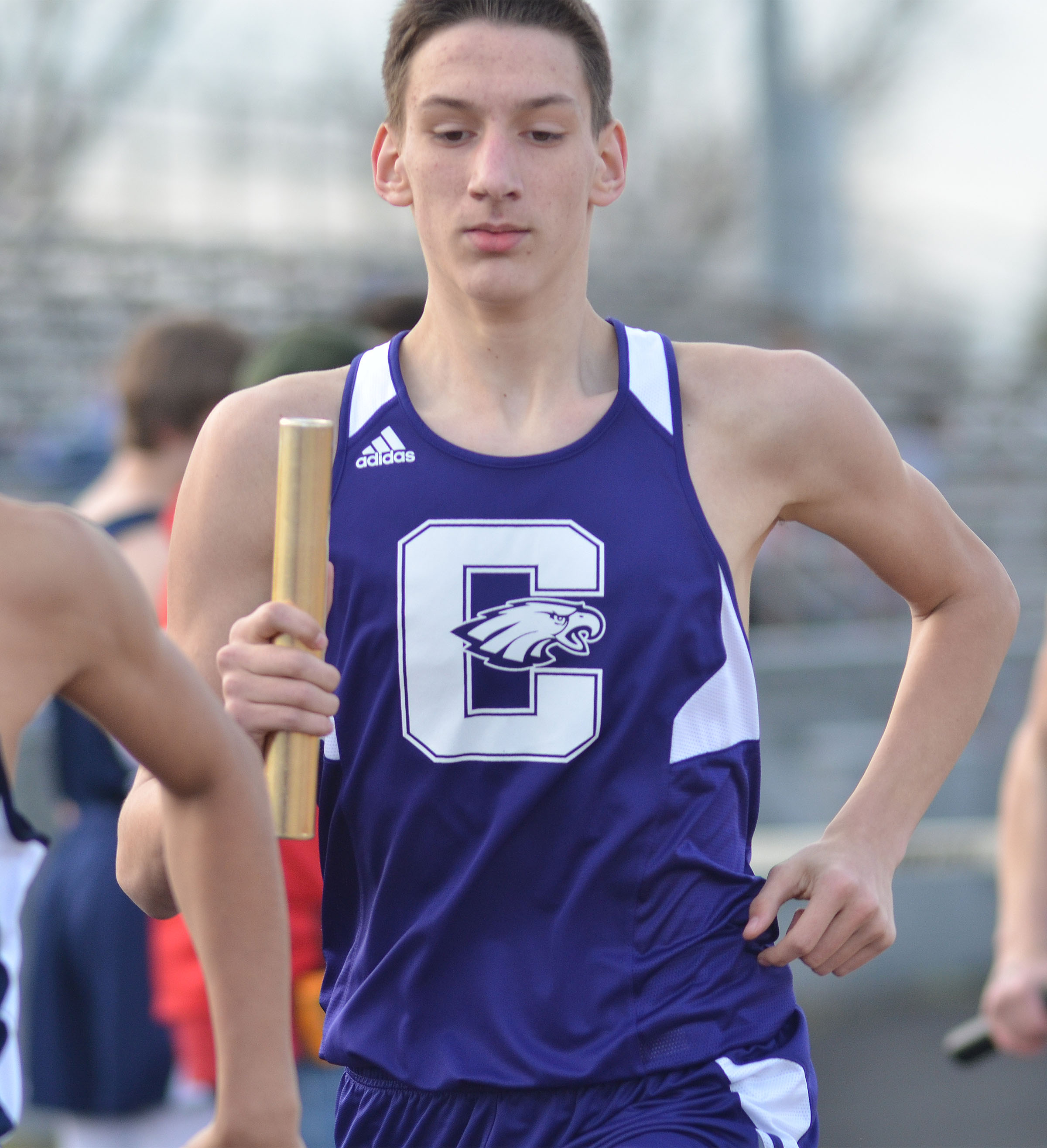 CHS sophomore Evan McAninch runs.