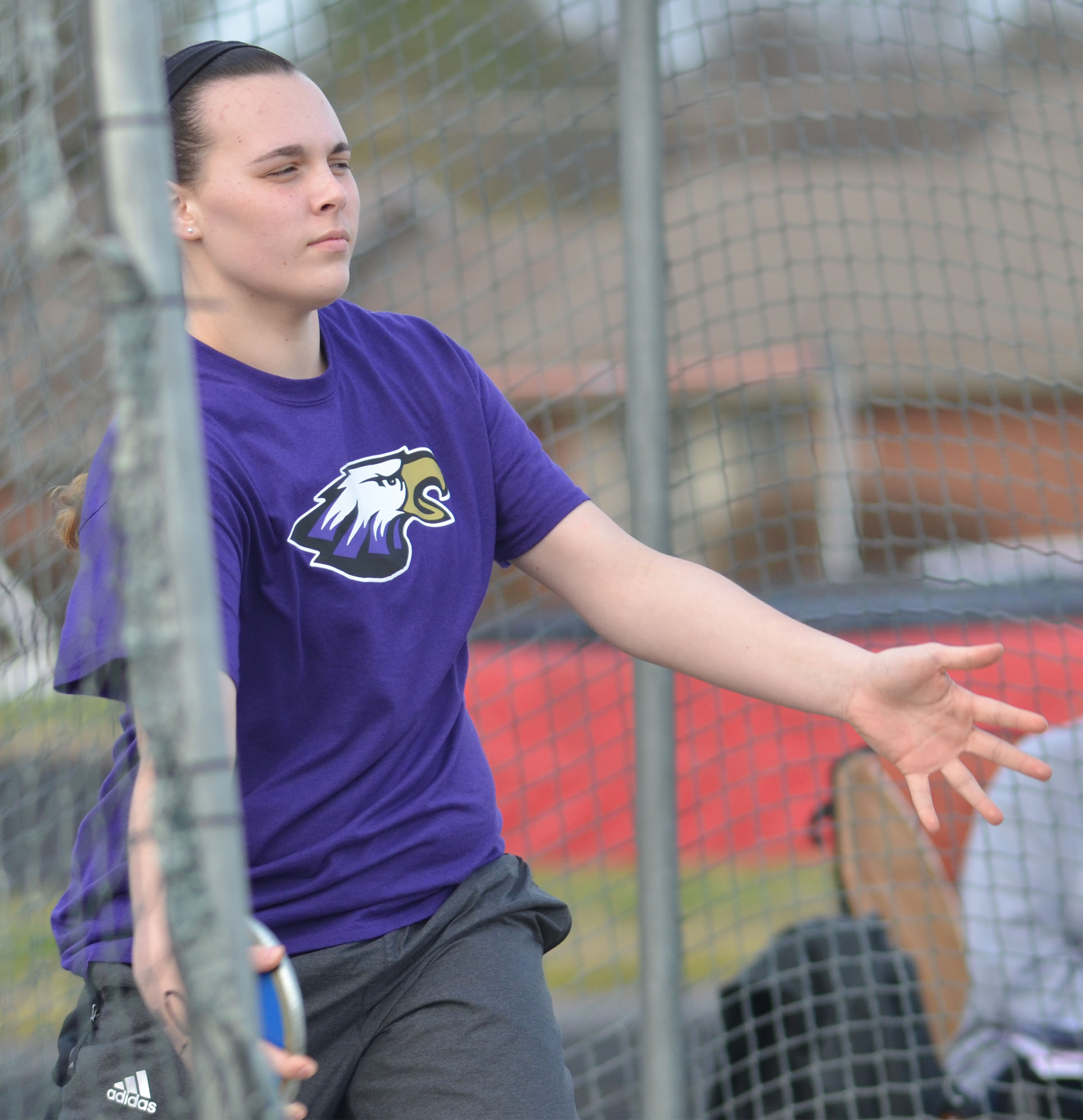 CHS freshman Katelyn Miller throws shot put.