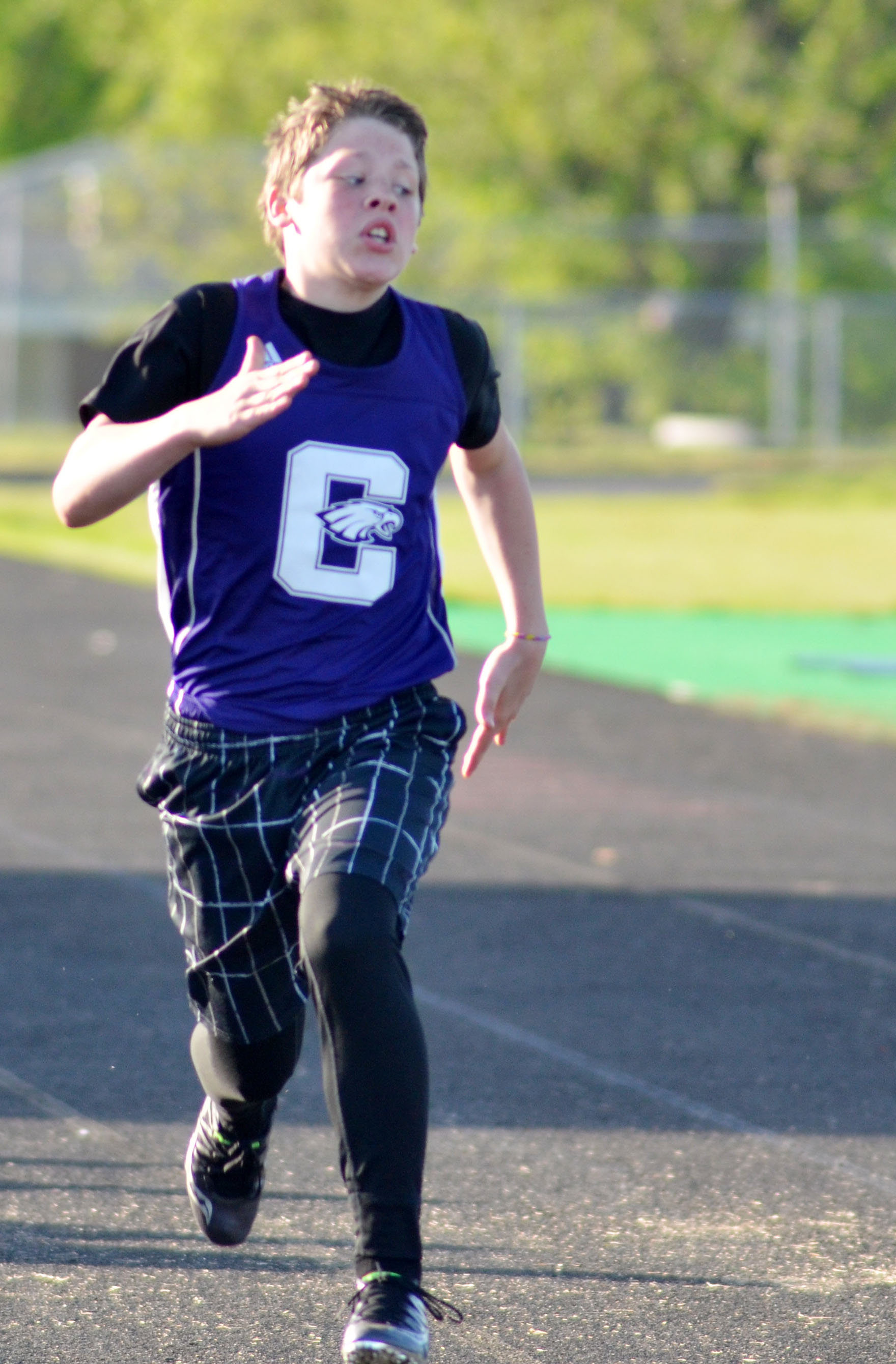 Campbellsville Middle School seventh-grader Joshua Lucas runs.