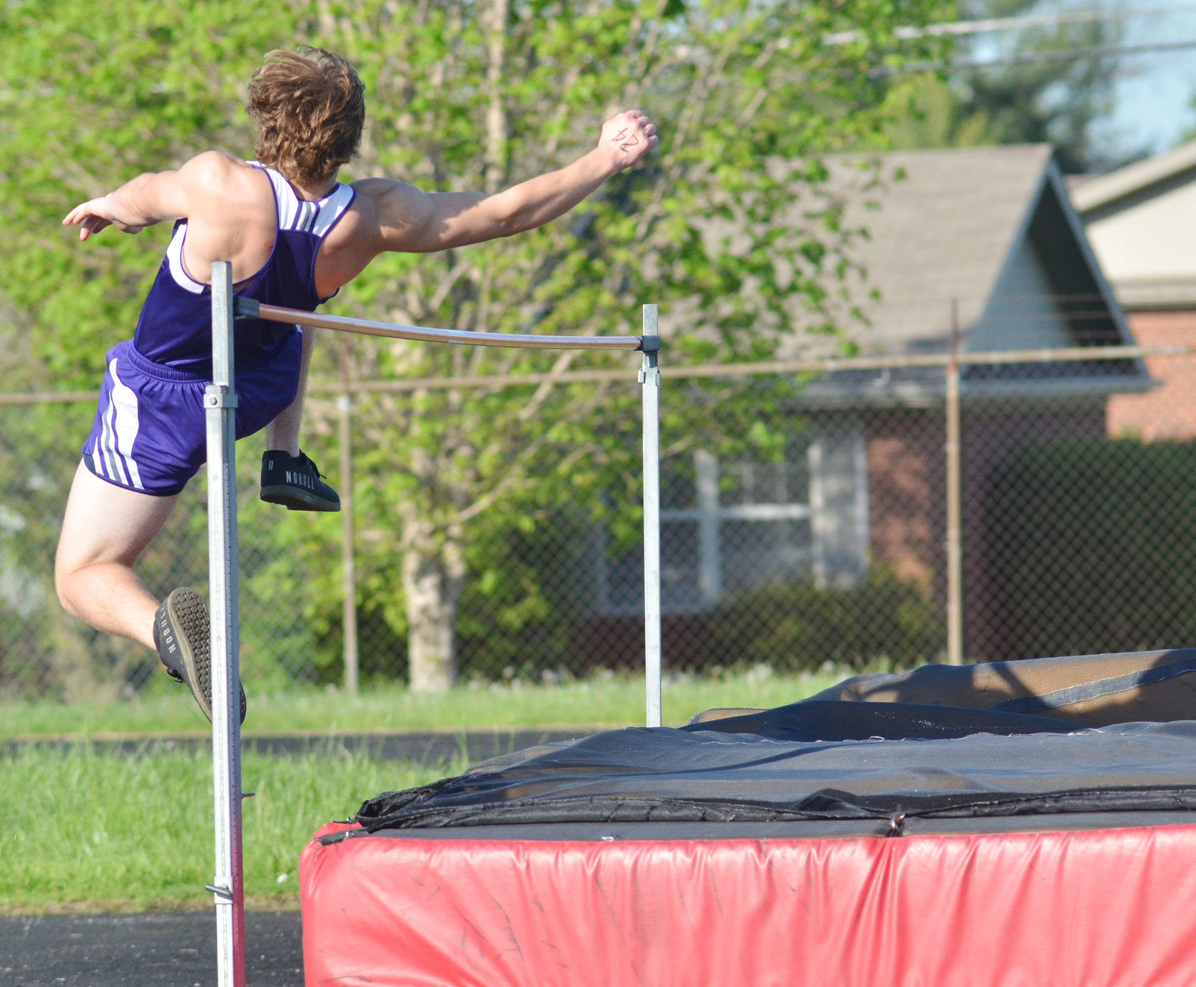 CHS sophomore Tristan Johnson jumps.