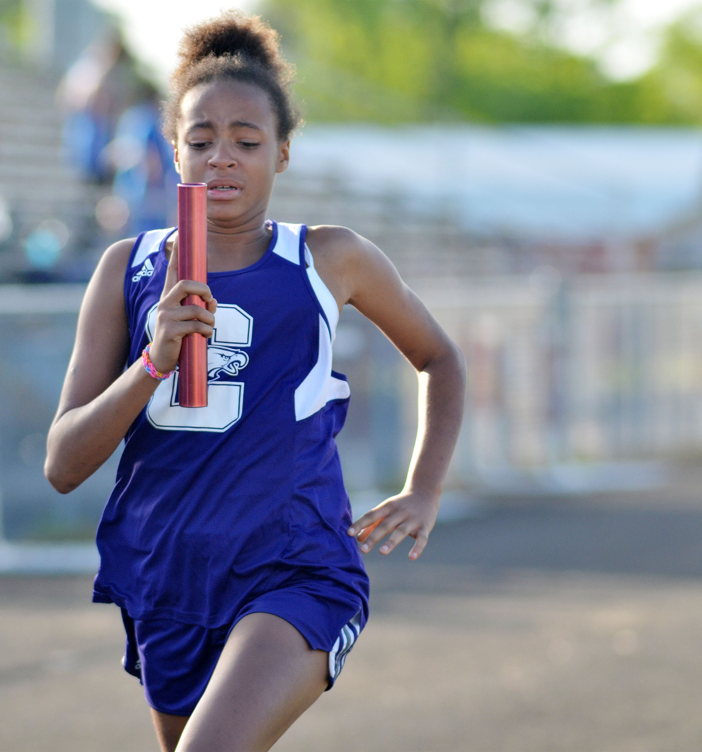 Campbellsville Middle School seventh-grader Aun Daya Coleman runs.