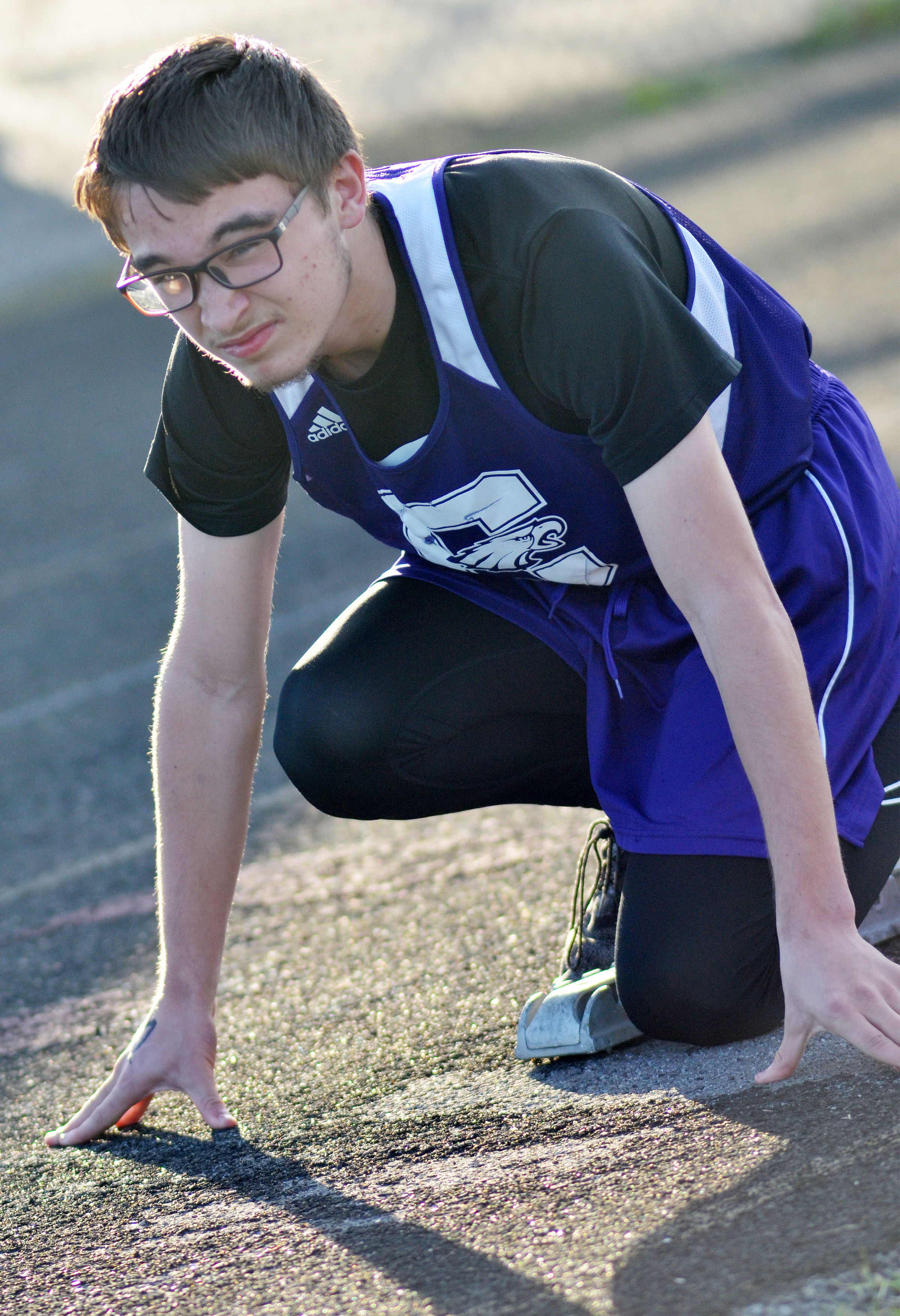 CHS sophomore Skyler Burchett gets ready to run.