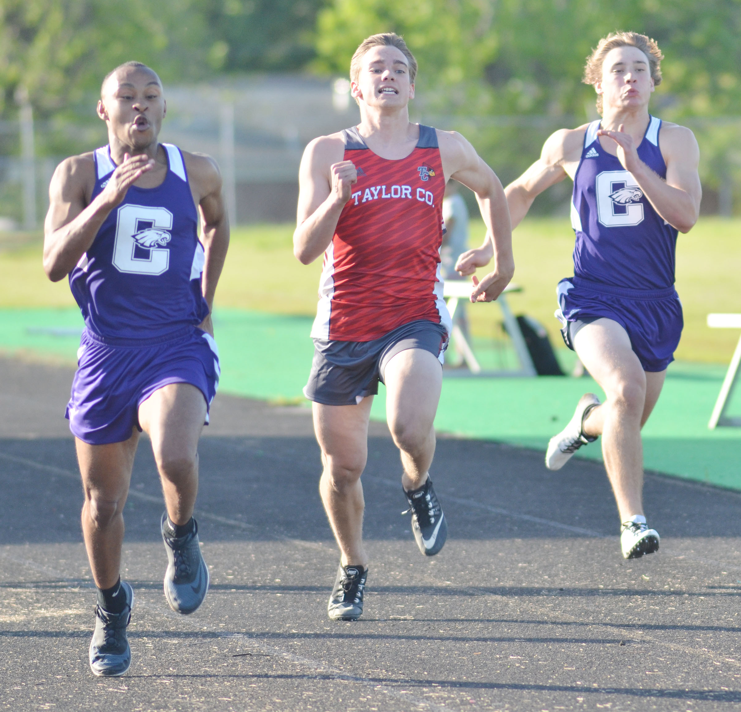 CHS sophomore Daesean Vancleave, at left, finished 27th in the 100-meter dash.