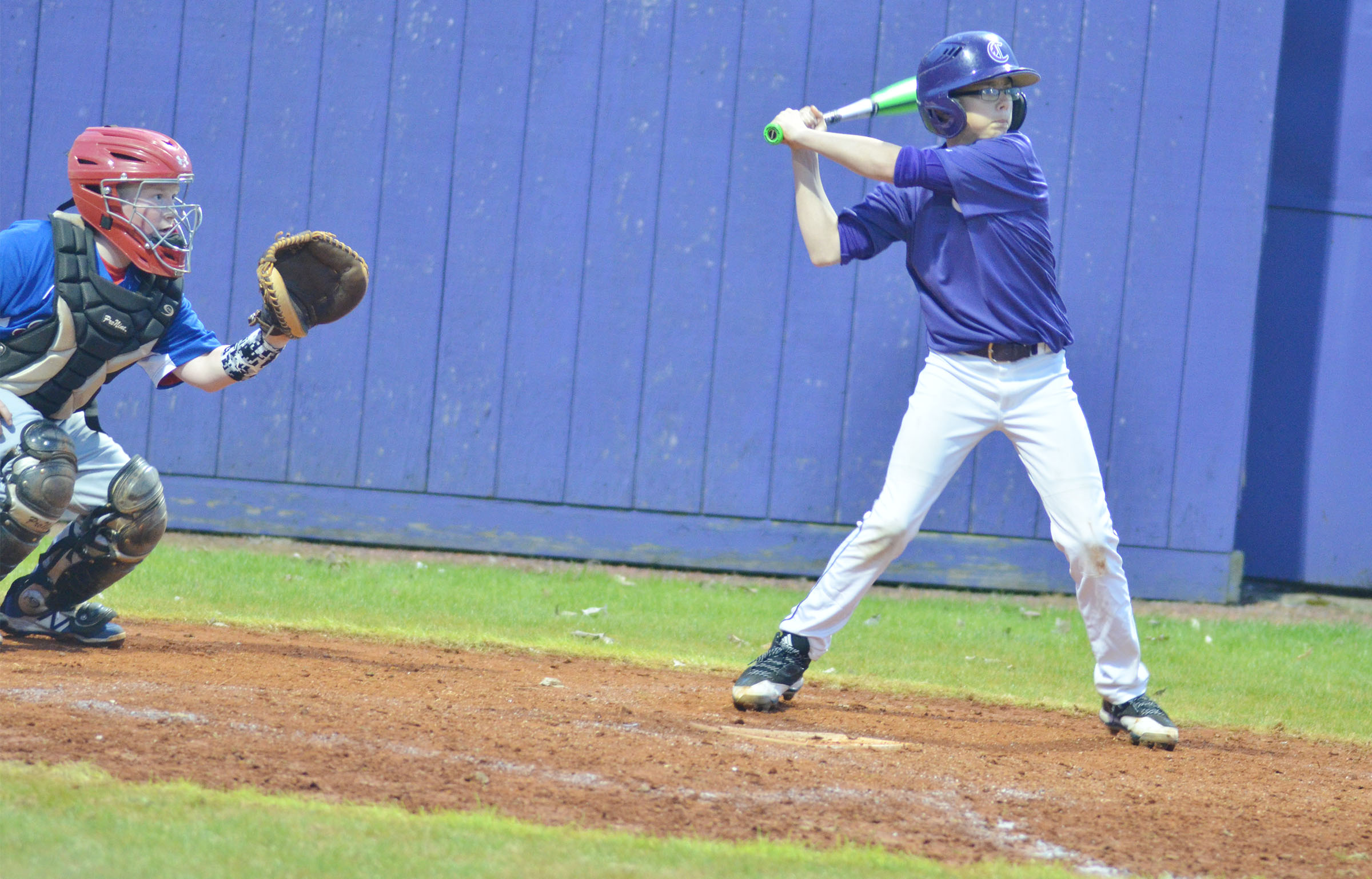 CMS seventh-grader Jarred Mays bats.