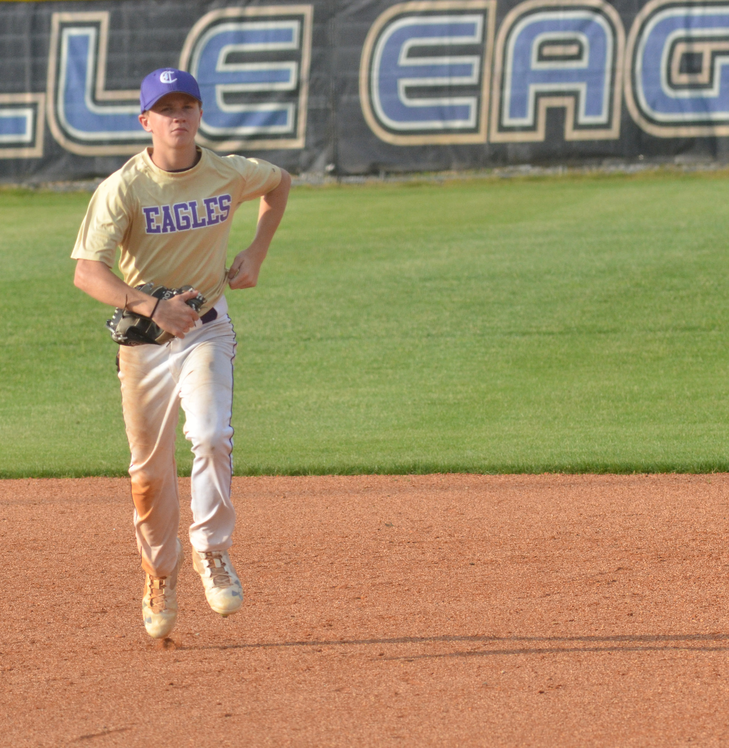CMS eighth-grader Blase Mattingly runs to the dugout.