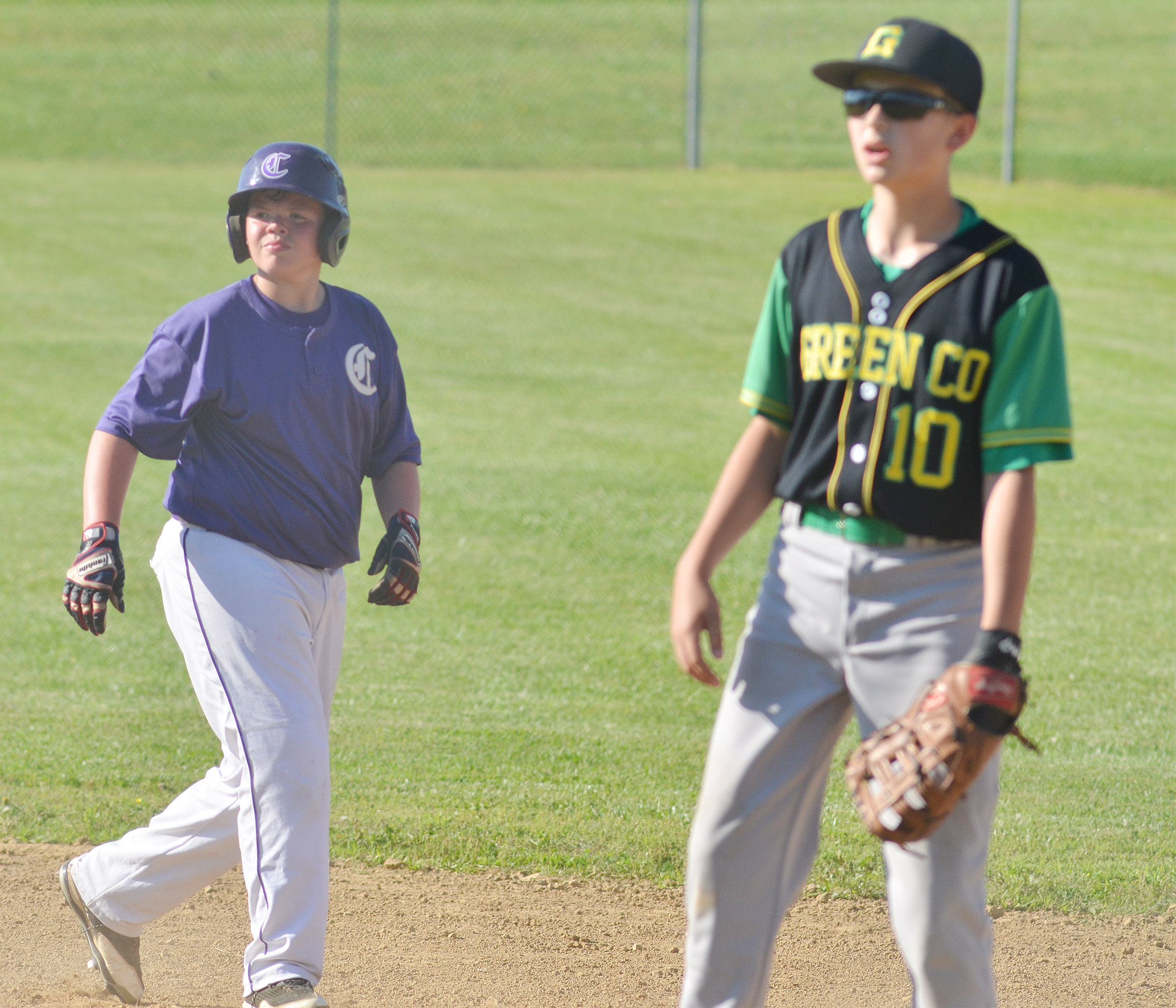 CMS sixth-grader Hayden Jones walks back to first.