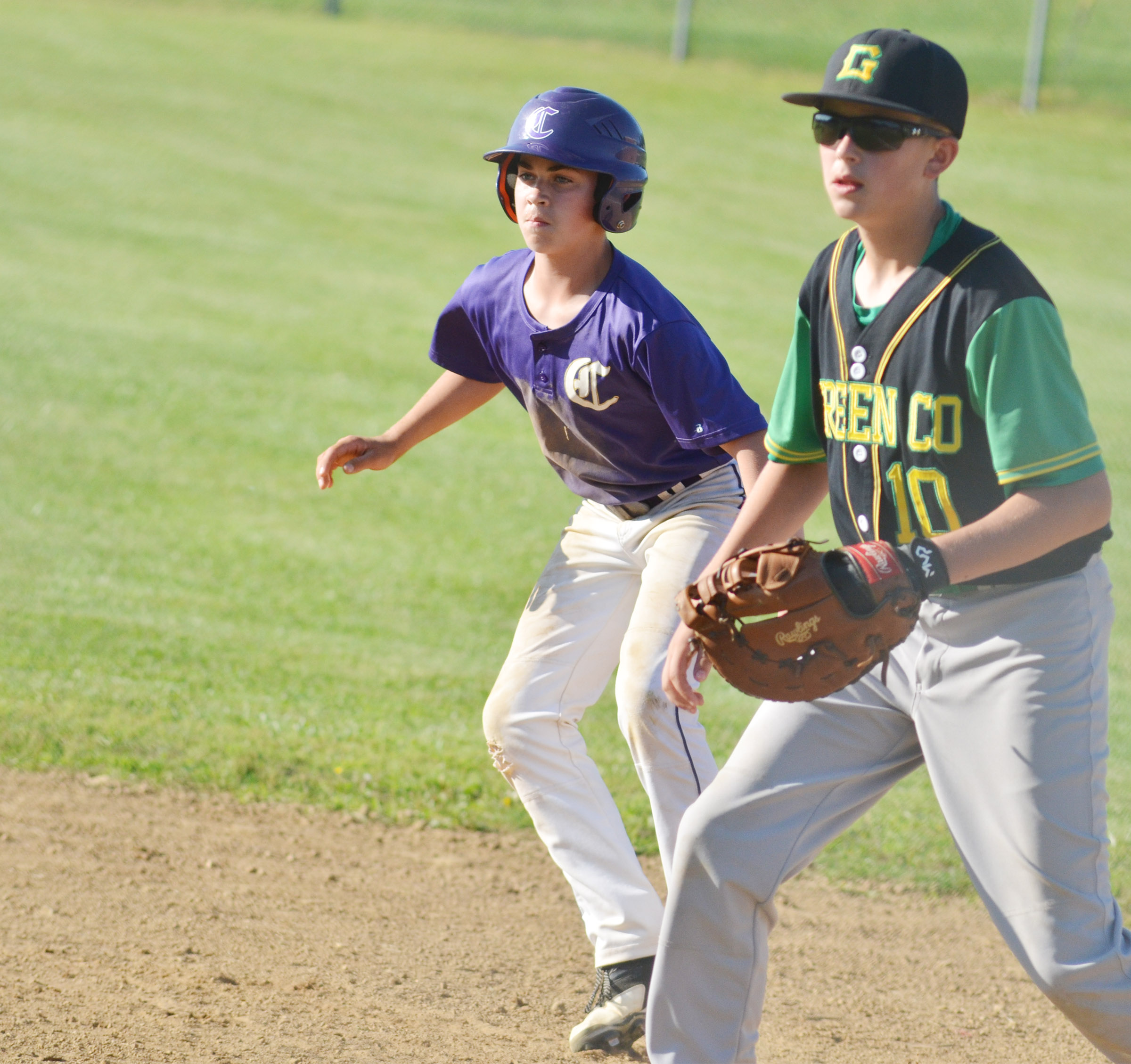 CMS eighth-grader Clark Kidwell looks to steal second.
