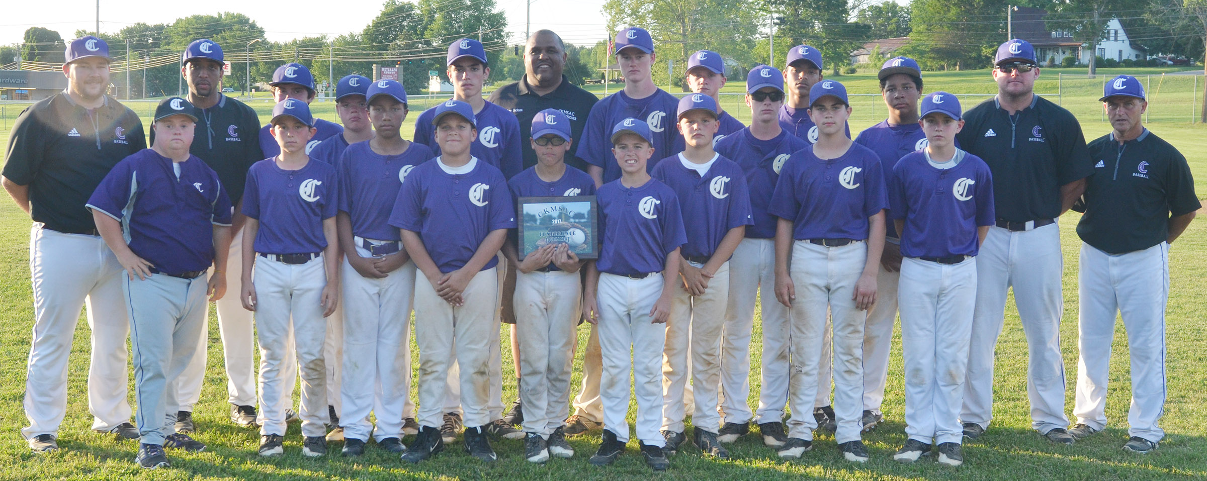CMS baseball team is this year's Central Kentucky Middle School Athletic Conference tournament runners-up. From left, front, are eighth-grader Blase Wheatley's brother Brennan, seventh-grader Dakota Harris, eighth-grader Jastyn Shively, sixth-grader Kaydon Taylor, seventh-grader Logan Phillips, sixth-graders Chase Hord and Konner Forbis, eighth-grader Clark Kidwell and sixth-grader Bryce Newton. Back, assistant coaches Brett Sowell and George Boyd, seventh-grader Peyton Dabney, sixth-grader Hayden Jones, eighth-grader Kameron Smith, CKMSAC Commissioner Godfrey Jackson, eighth-graders Tristin Faulkner and Blase Wheatley, seventh-grader Seth Hash, eighth-grader Reggie Thomas, seventh-grader Bryson Karr, assistant coach Daniel Forbis and head coach Lynn Kearney.