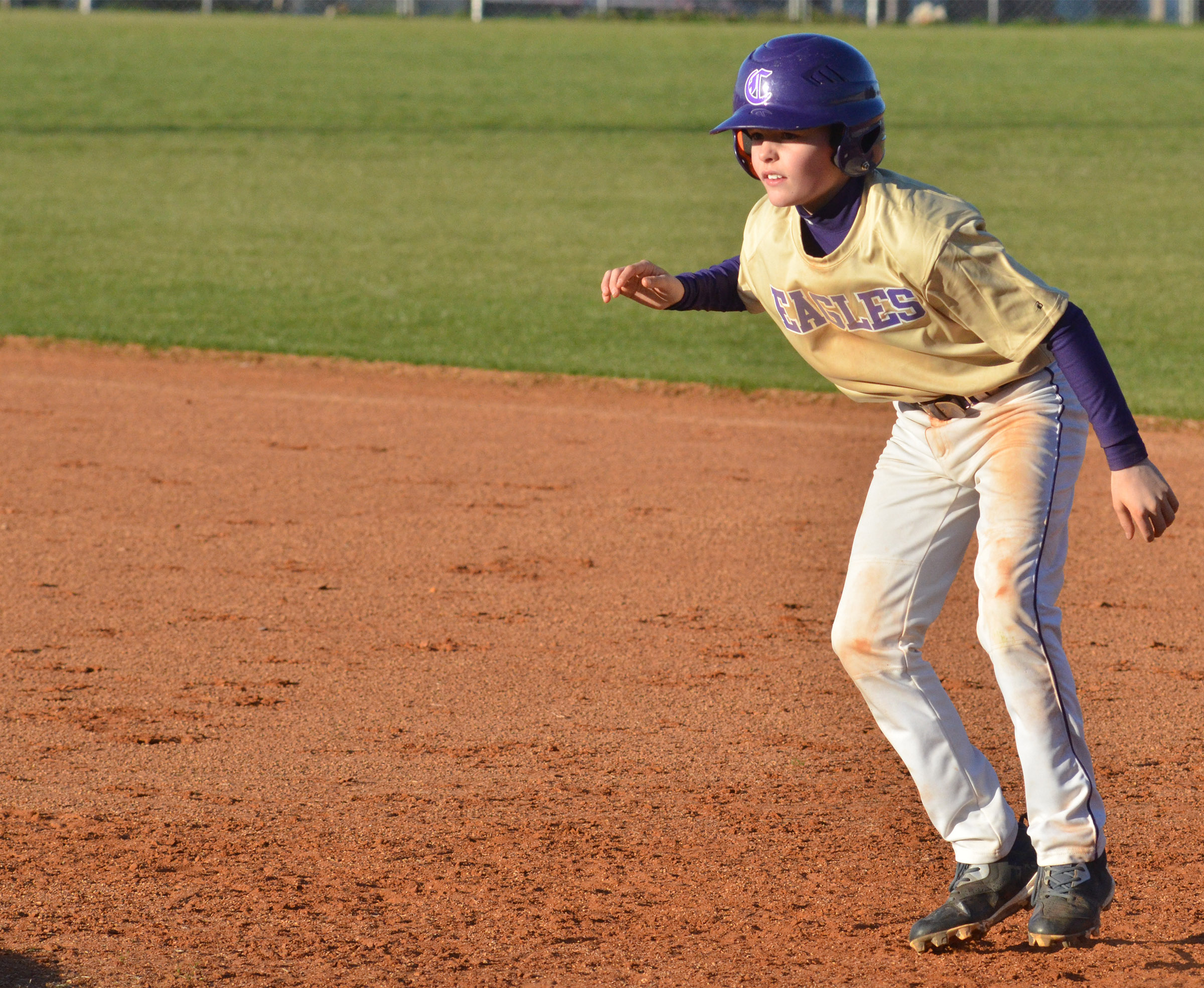 CMS sixth-grader Konner Forbis gets a lead off first.