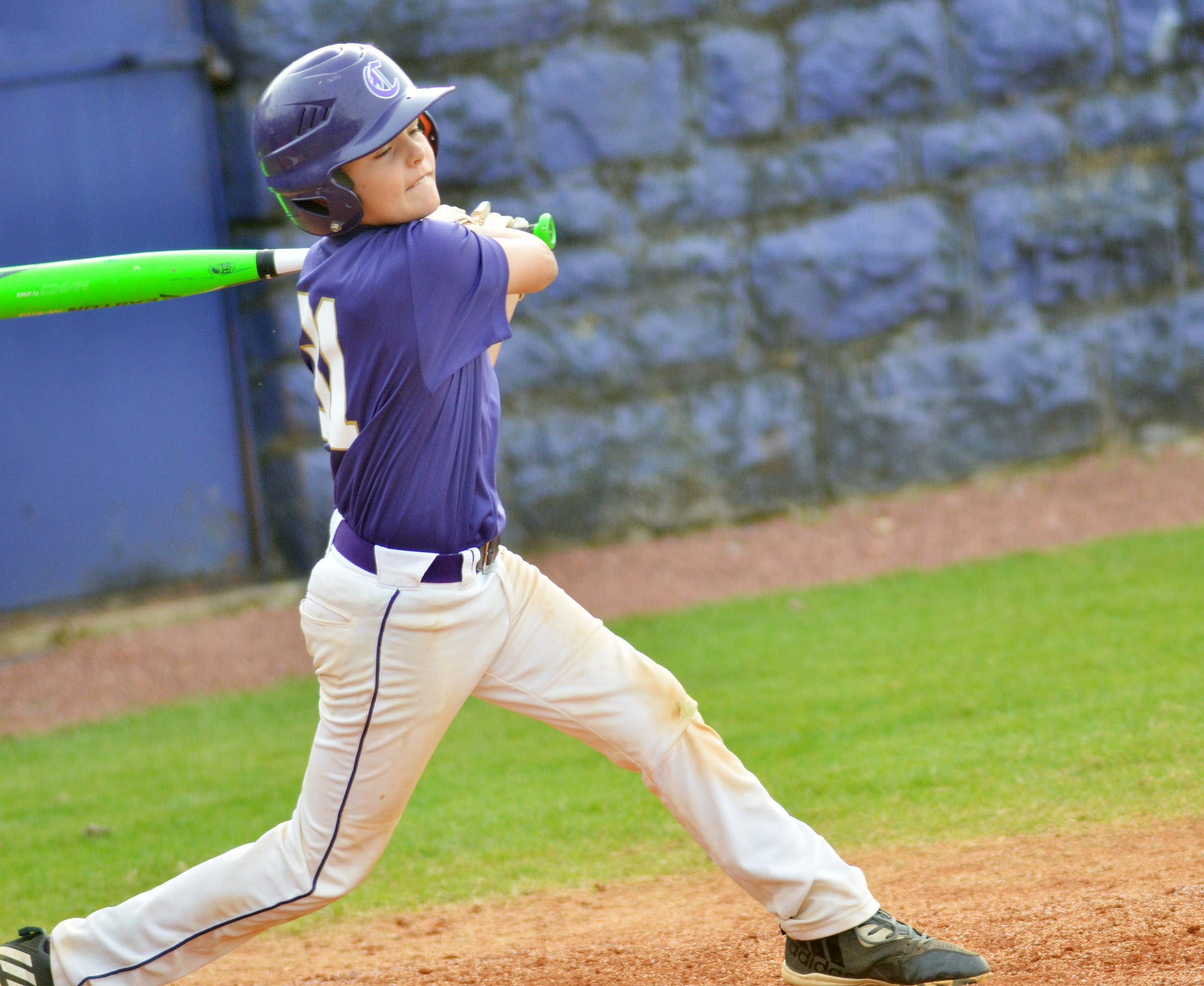 CMS sixth-grader Konner Forbis swings.