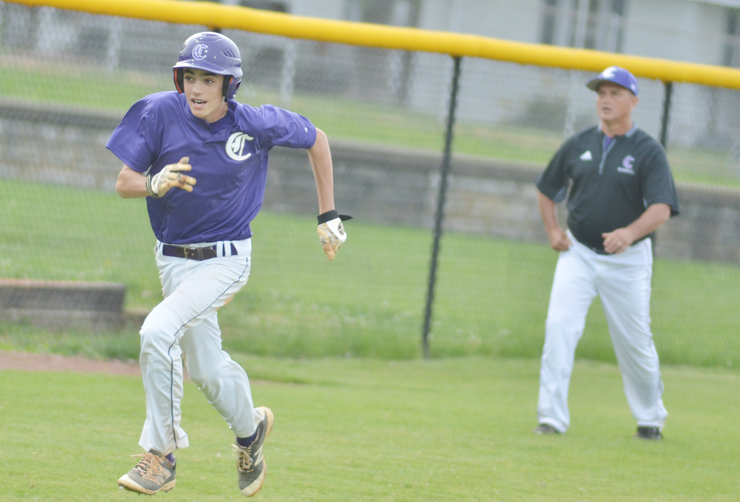 CMS eighth-grader Kameron Smith runs home.