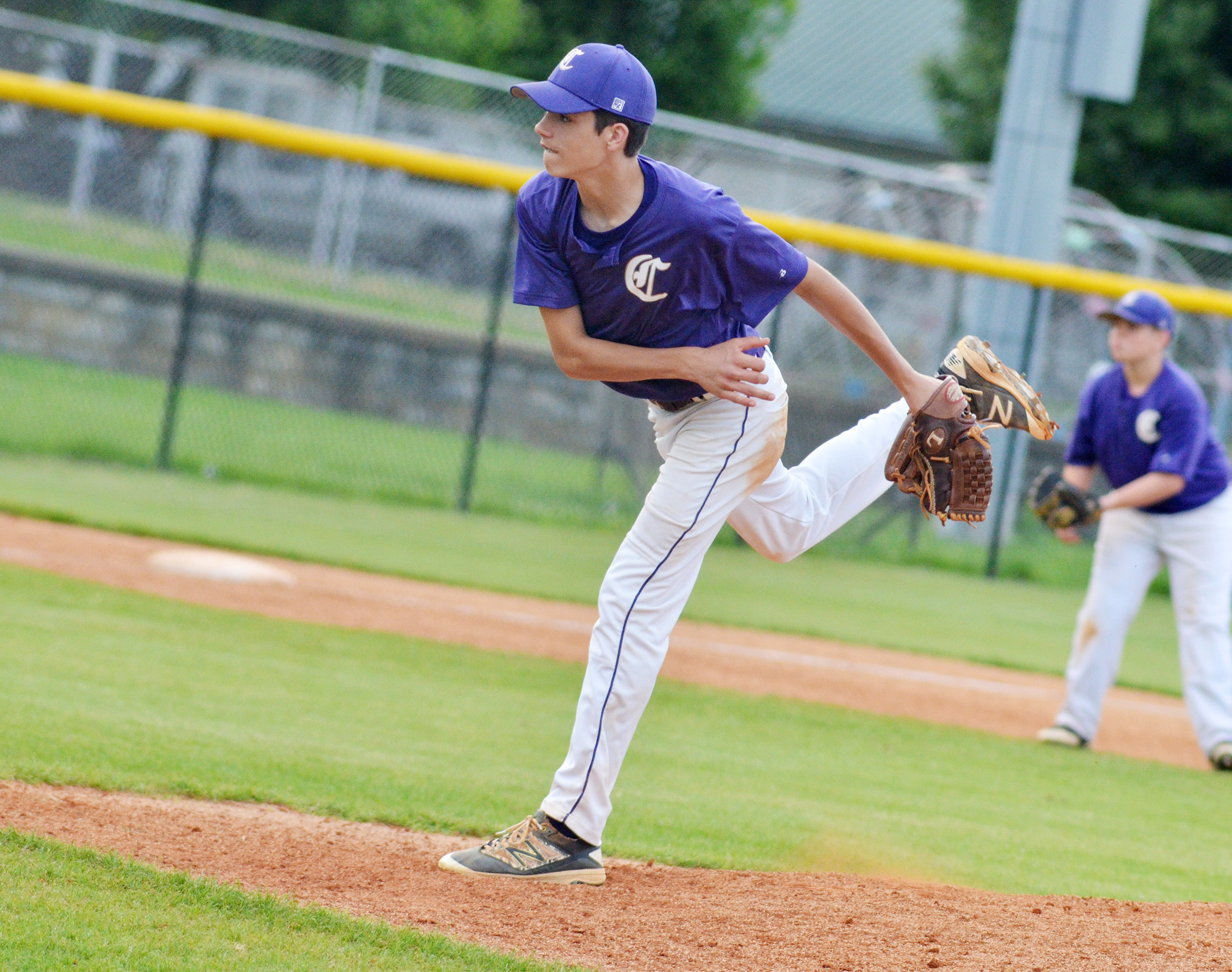 CMS eighth-grader Kameron Smith pitches.