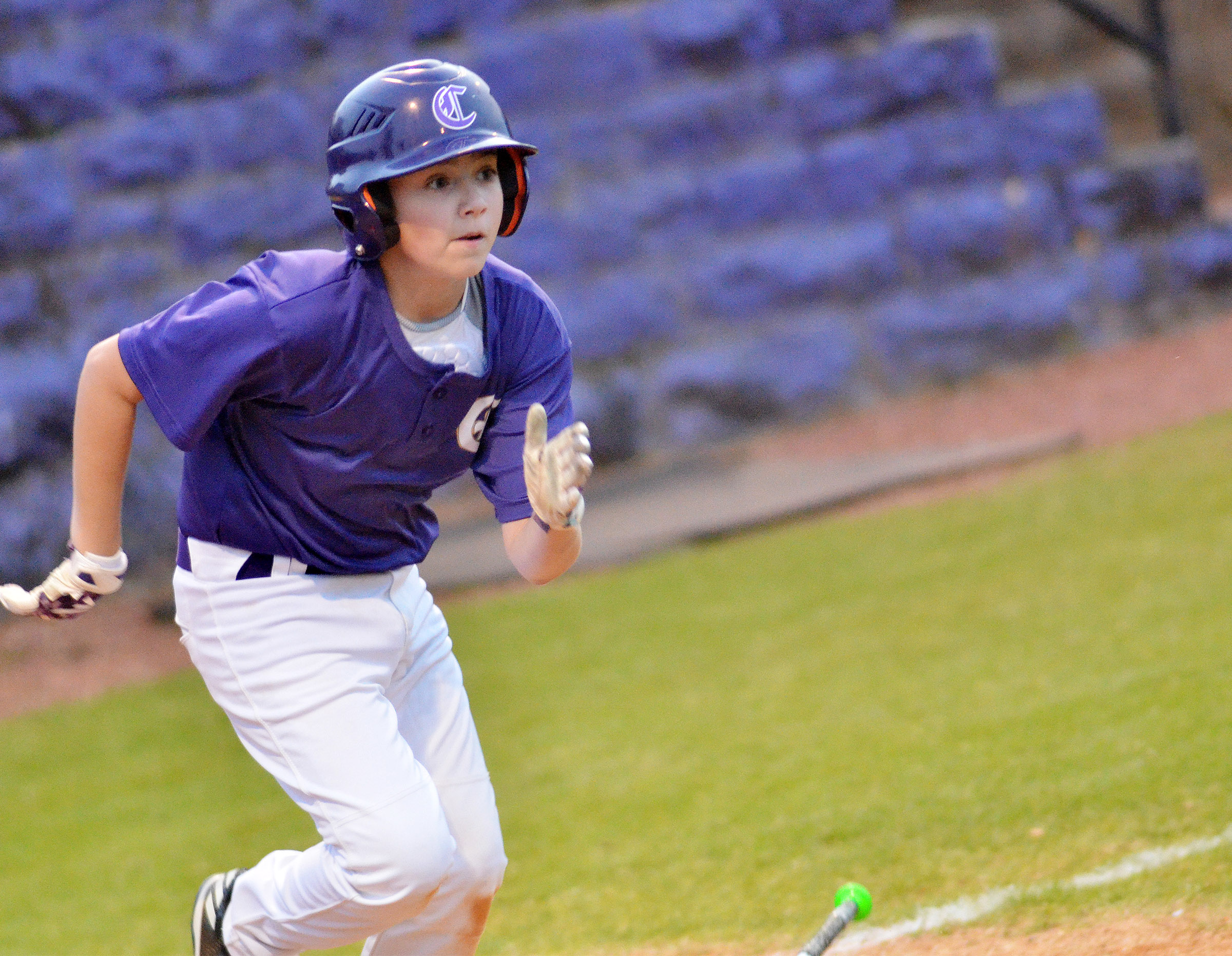CMS sixth-grader Bryce Newton runs to first.