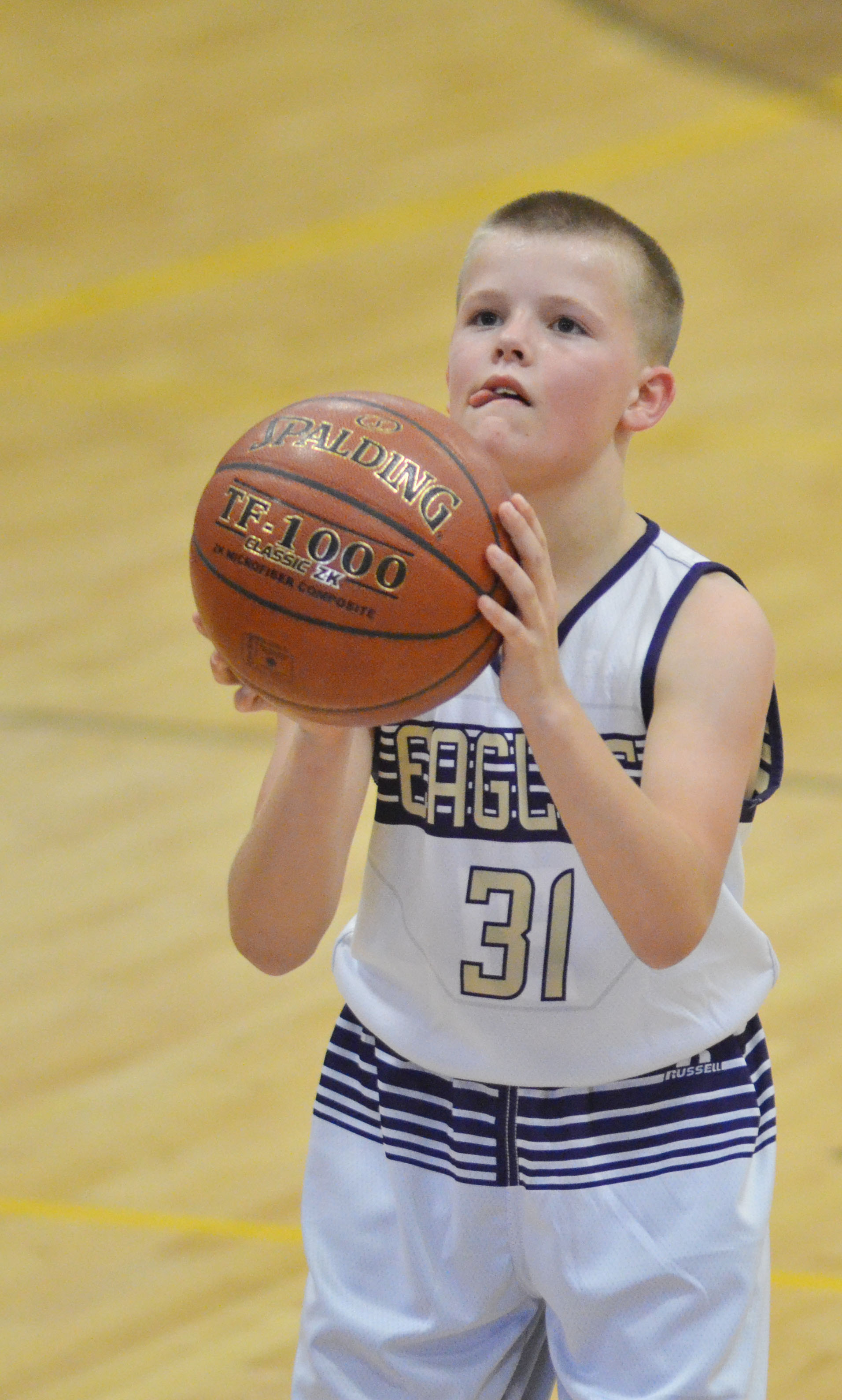 CMS sixth-grader Konner Forbis shoots the ball.