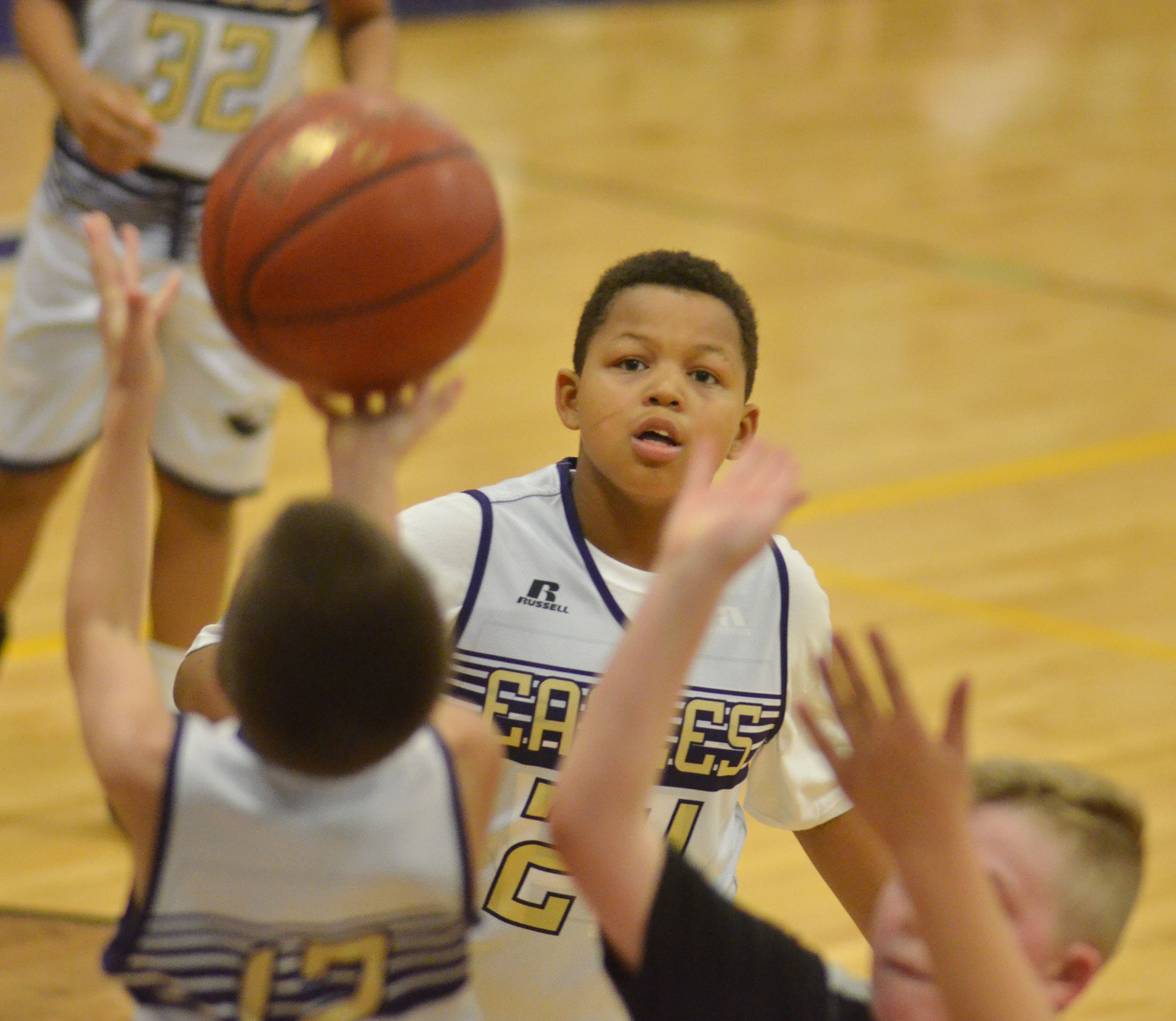 CMS sixth-grader Keondre Weathers watches the ball.