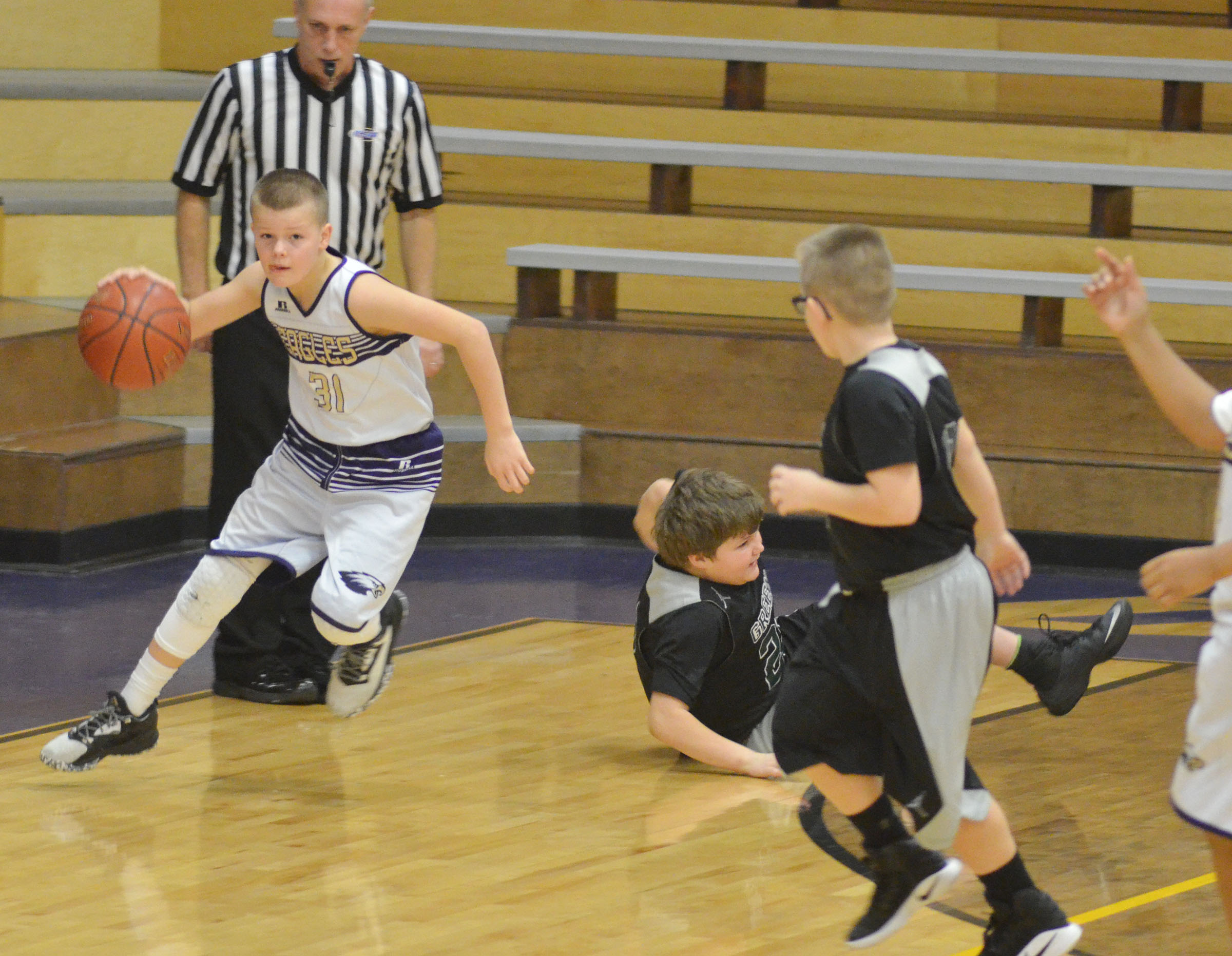 CMS sixth-grader Konner Forbis steals the ball.