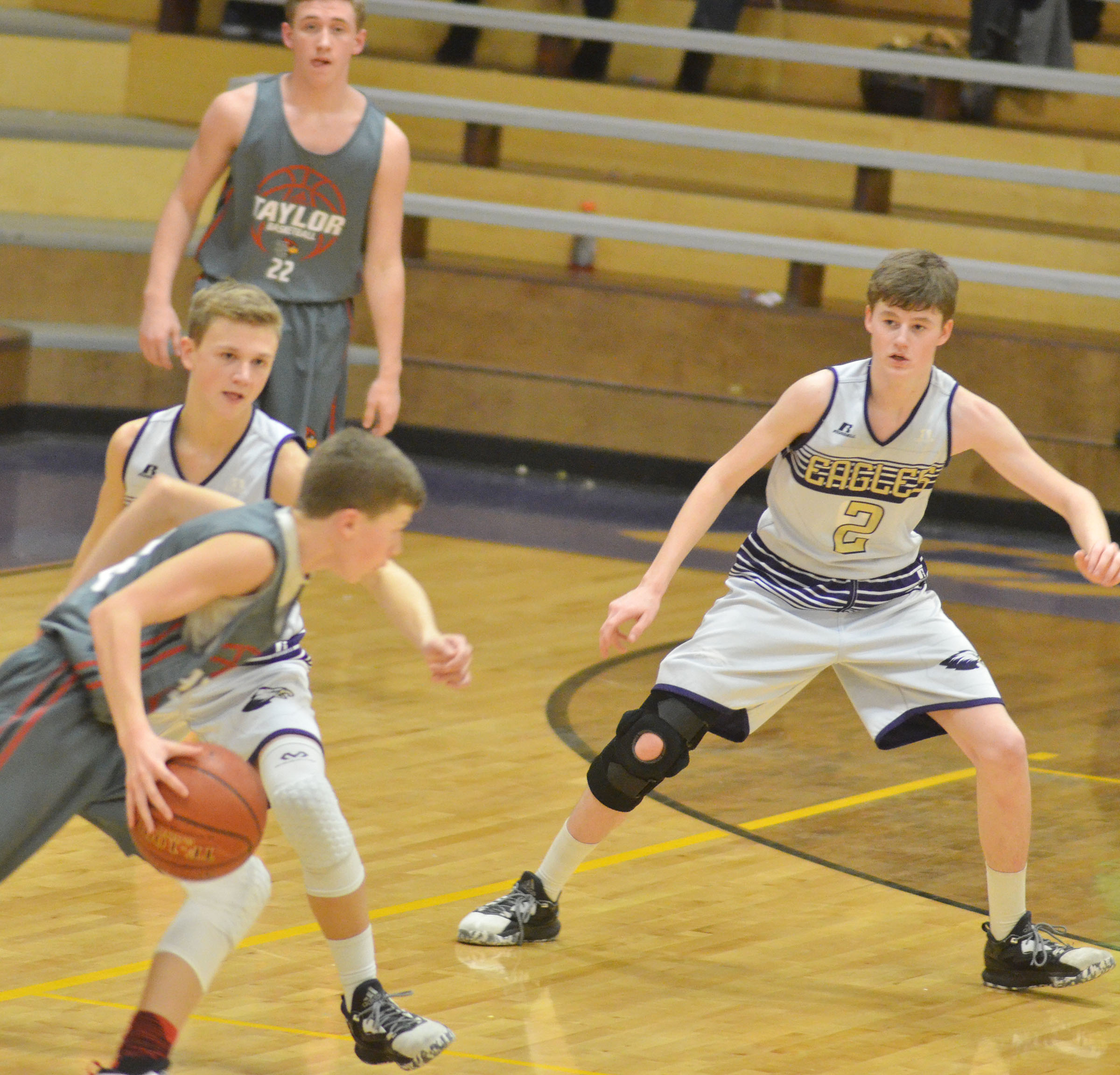 CMS eighth-graders Blase Wheatley, at left, and Tristin Faulkner play defense.
