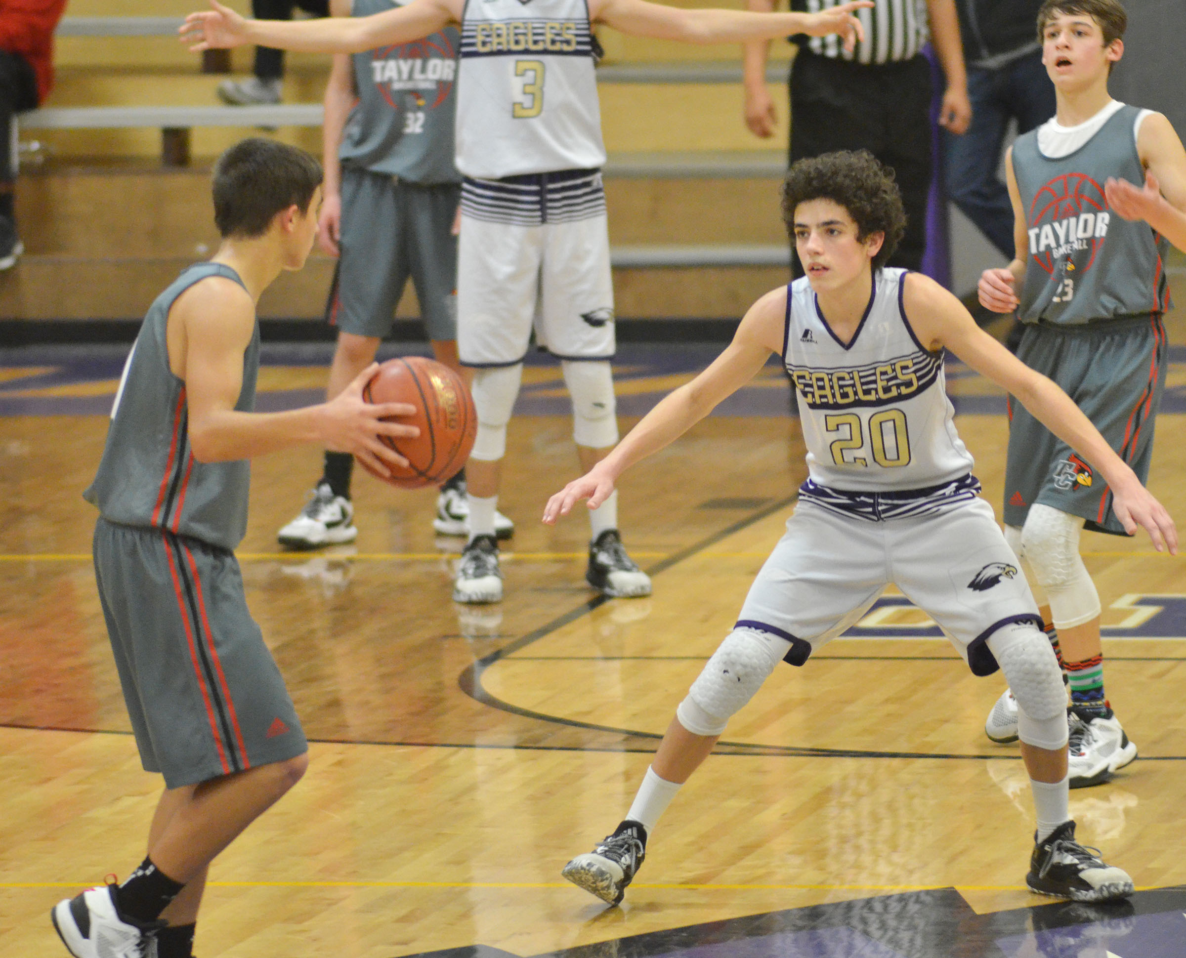 CMS eighth-grader Kameron Smith plays defense.