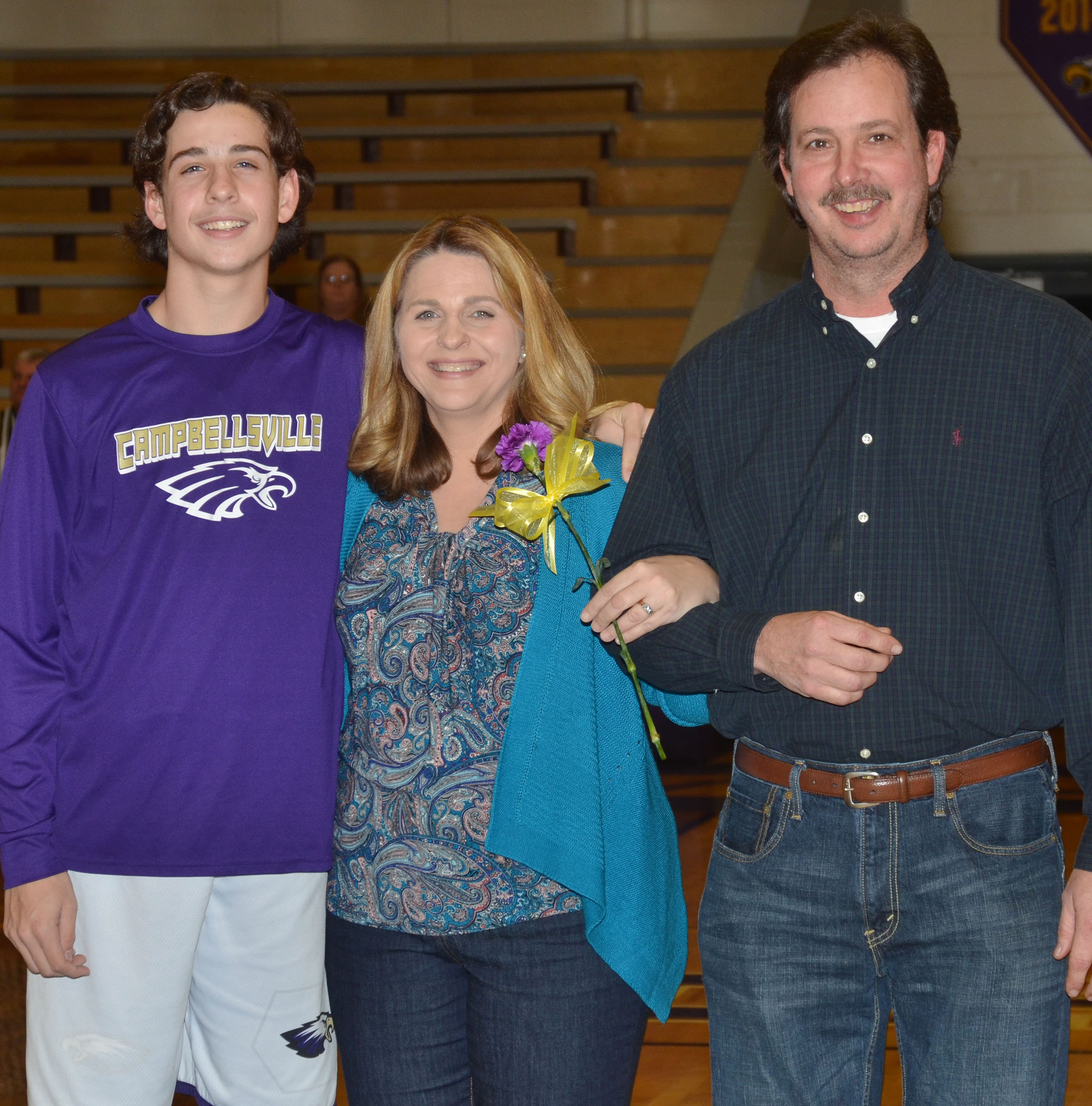 CMS eighth-grader John Orberson is honored. He is pictured with his parents, Sonya and Johnny.