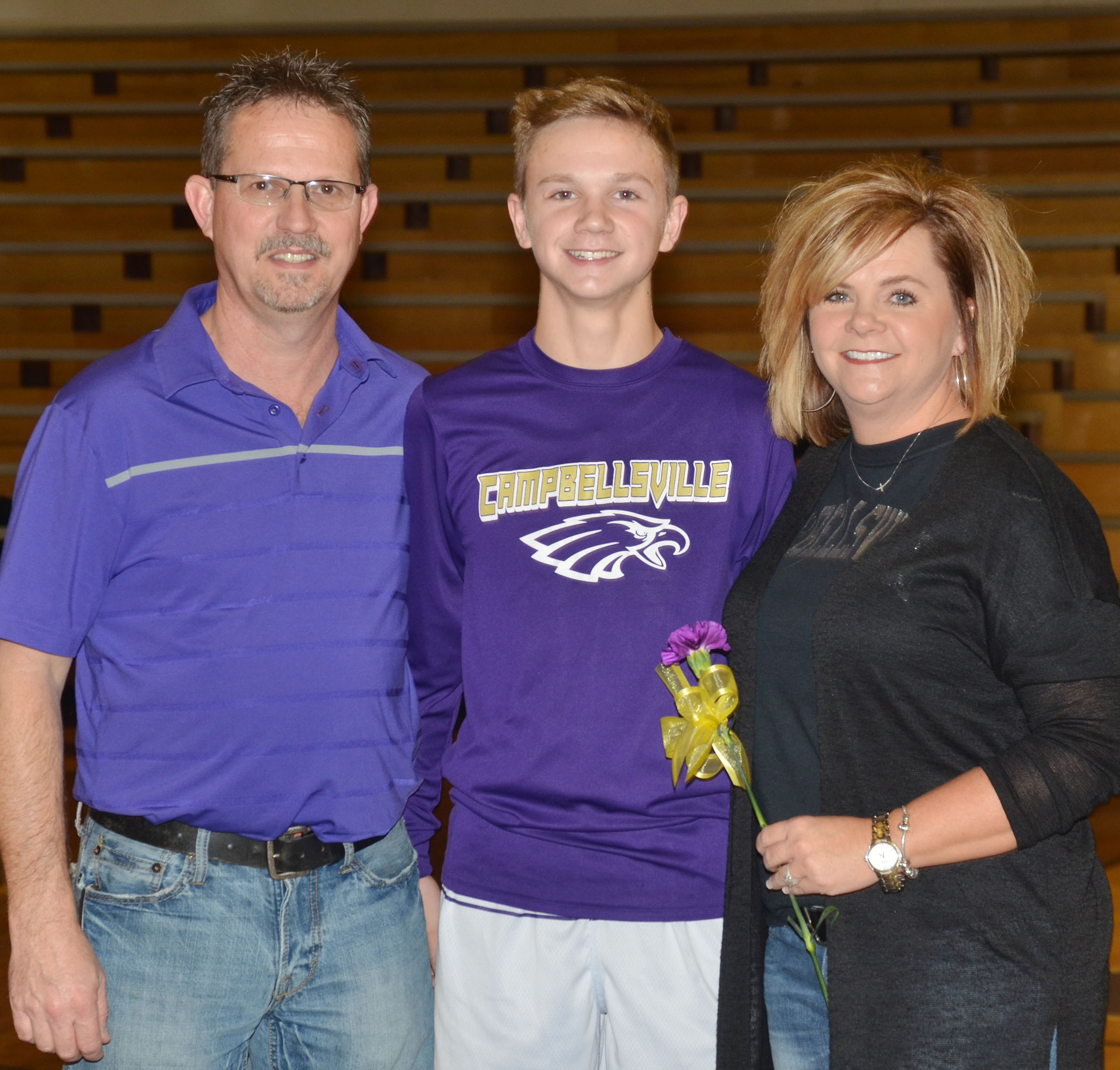 CMS eighth-grader Blase Wheatley is honored. He is pictured with his parents, Sue Ann and Barry.