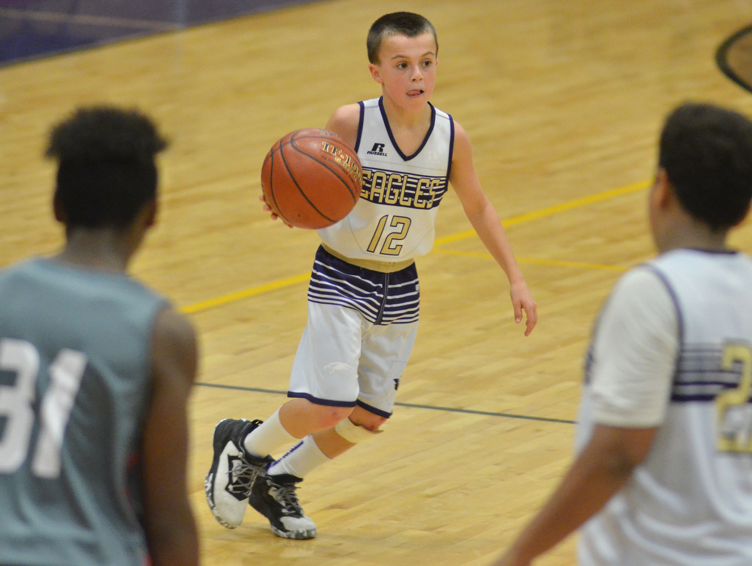 CMS sixth-grader Chase Hord looks to pass.