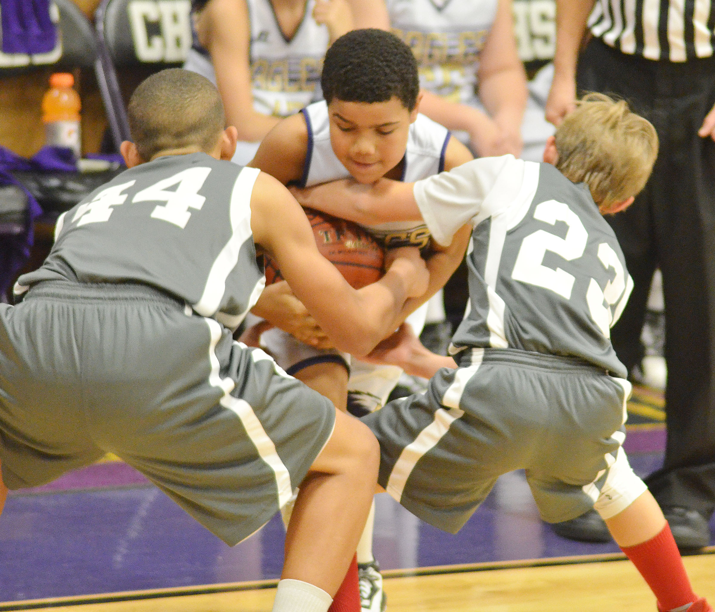 CMS fifth-grader Tashaun Hart battles for the ball.