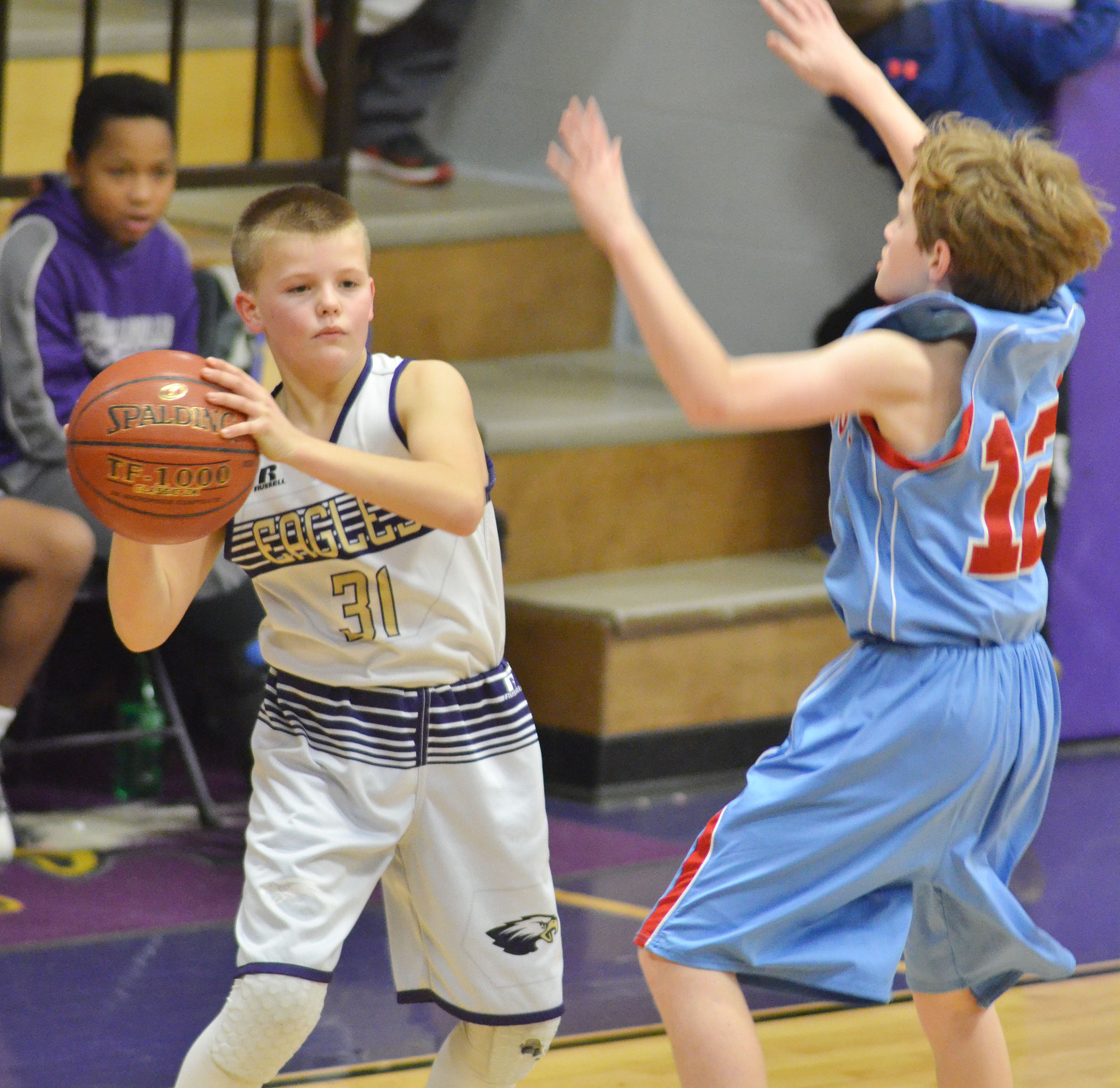 CMS sixth-grader Konner Forbis passes the ball.