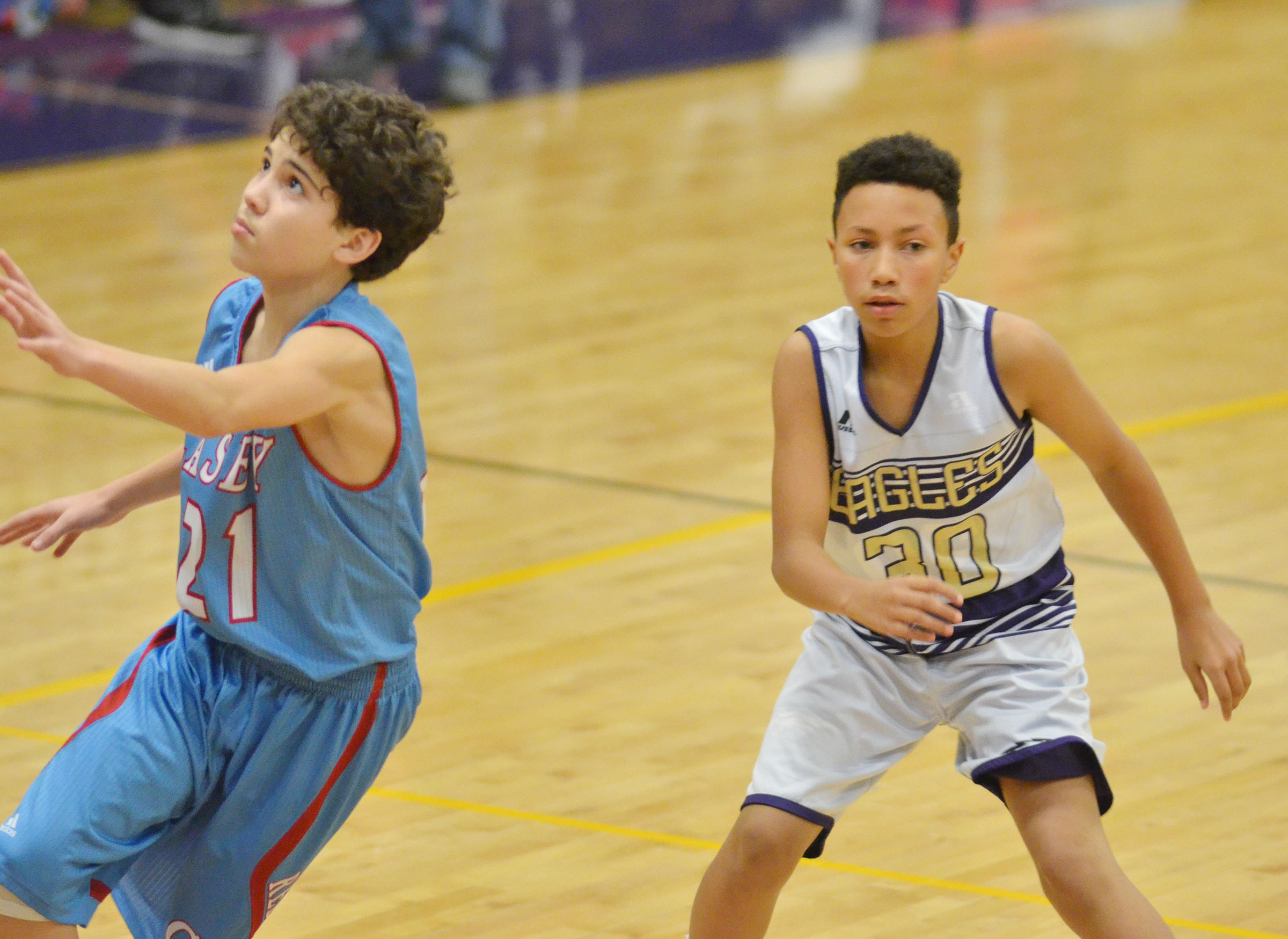 CMS eighth-grader Jastyn Shively plays defense.
