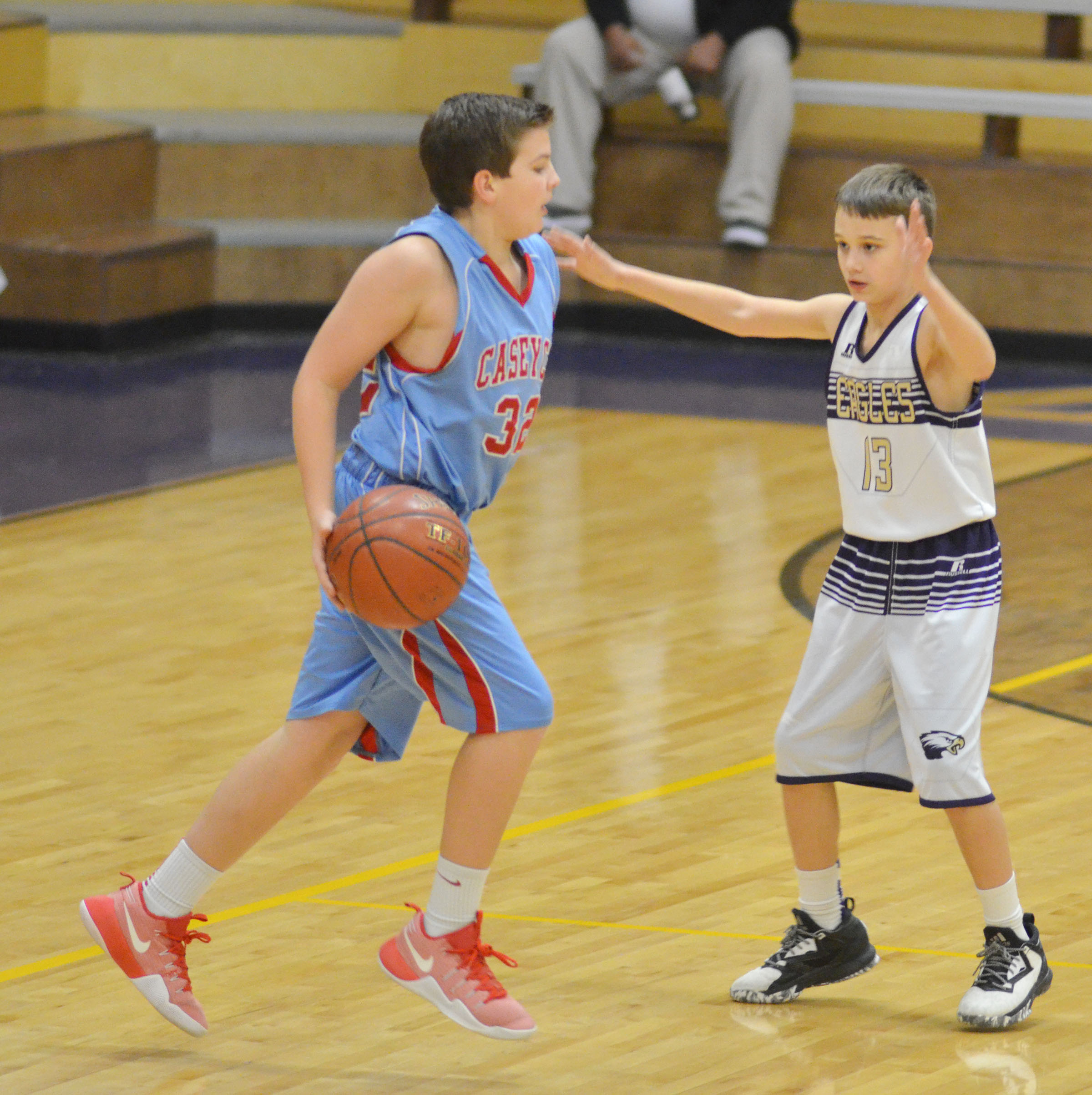 CMS sixth-grader Camren Vicari plays defense.
