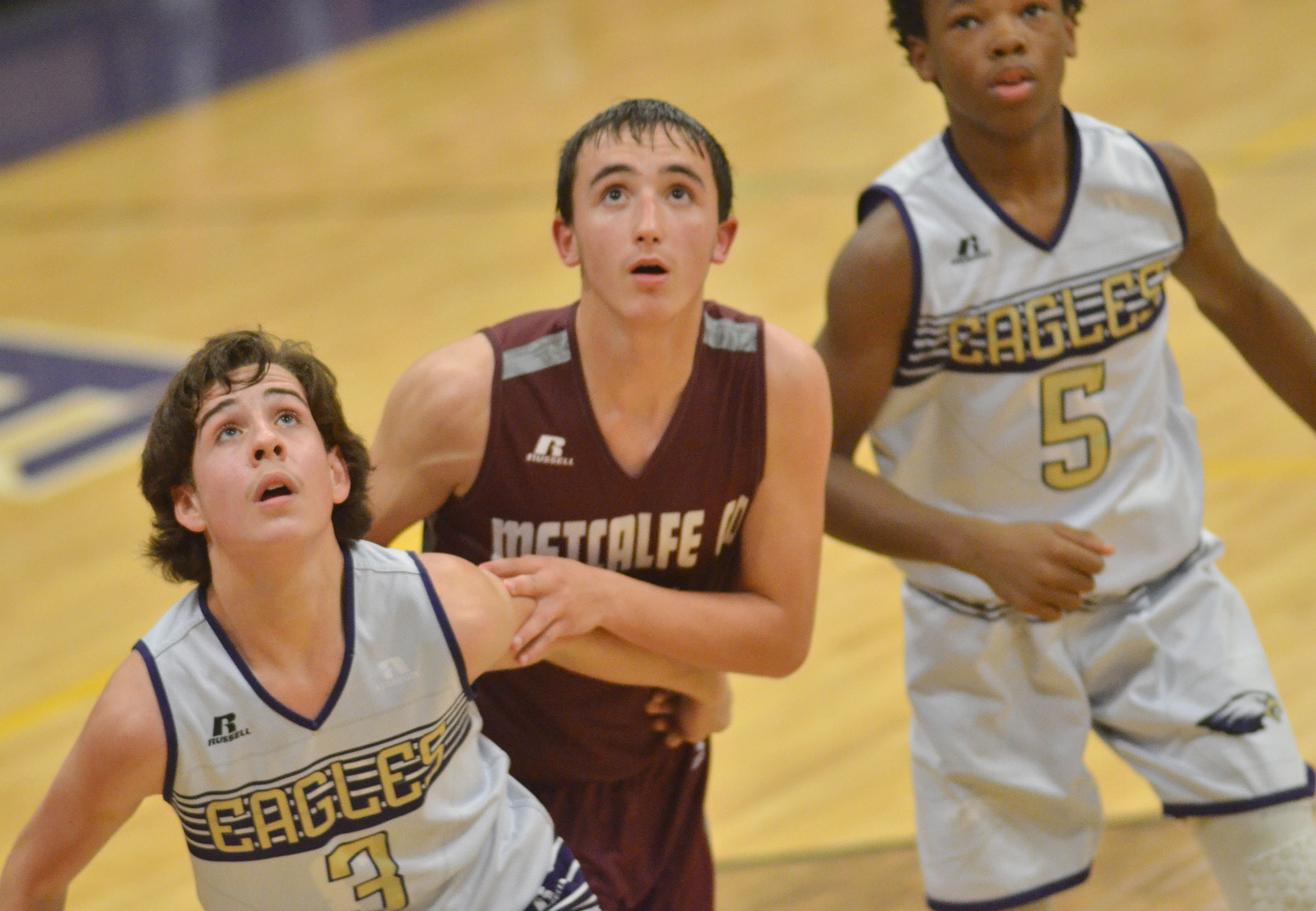 CMS eighth-grader John Orberson looks for the rebound.