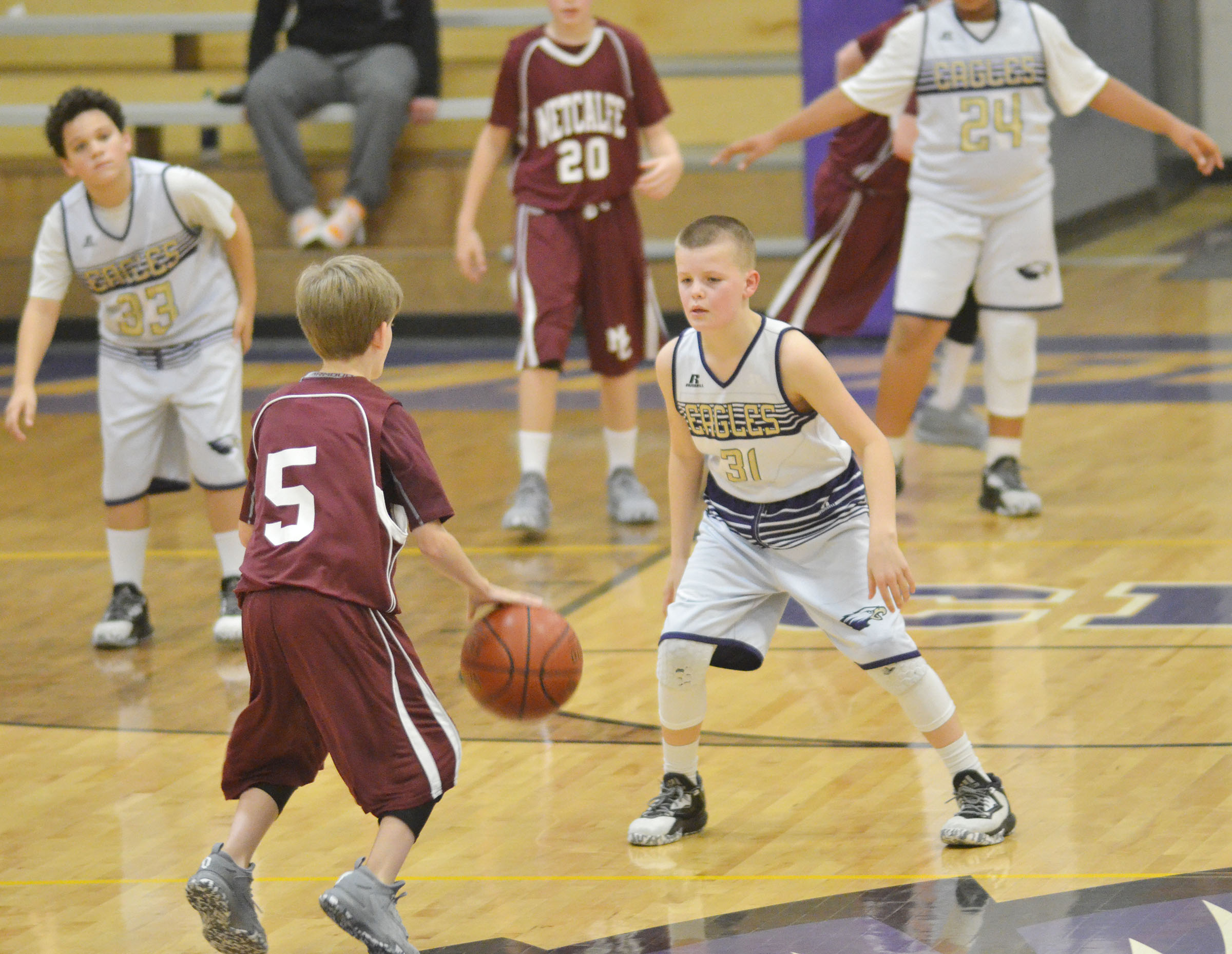 CMS sixth-grader Konner Forbis plays defense.