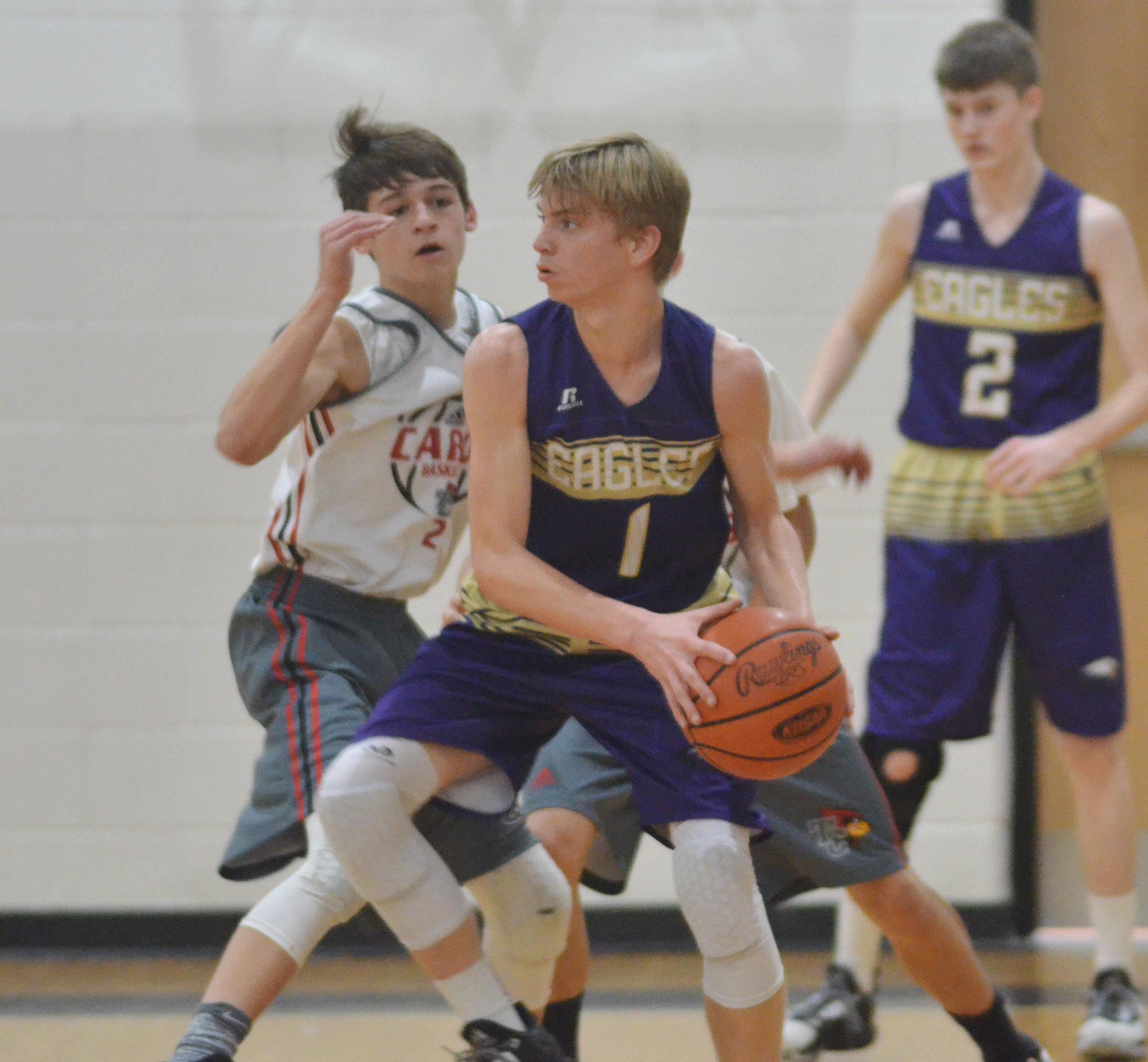 CMS eighth-grader Arren Hash protects the ball.
