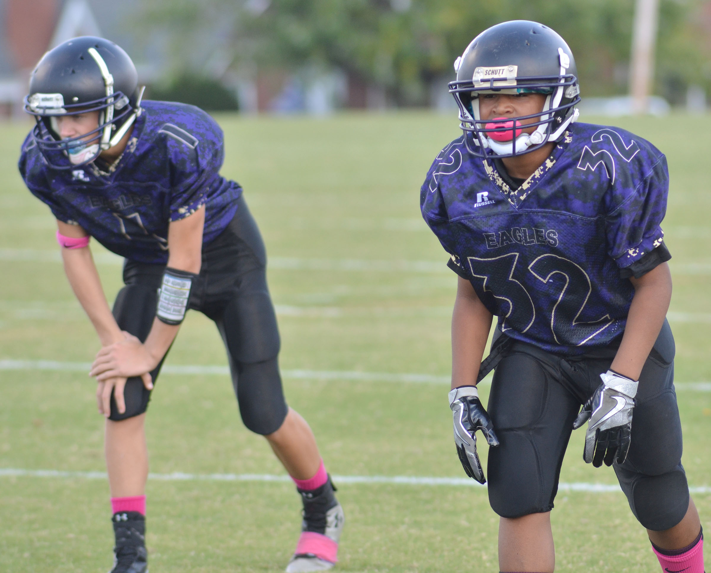 CMS sixth-grader Deondre' Weathers gets set for a play.
